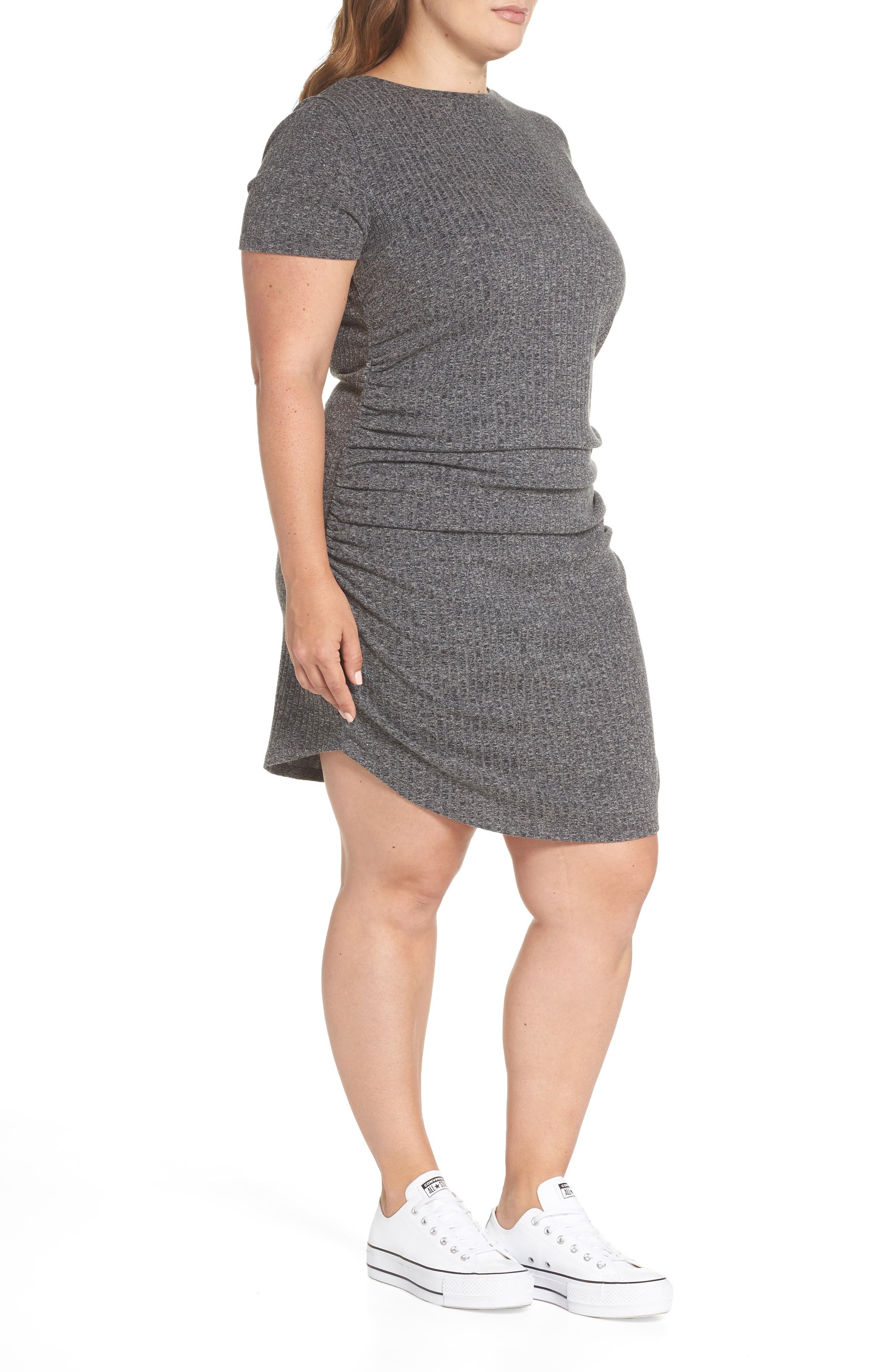 BP.,                             Ruched Ribbed Body-Con Dress,                             Alternate thumbnail 4, color,                             030