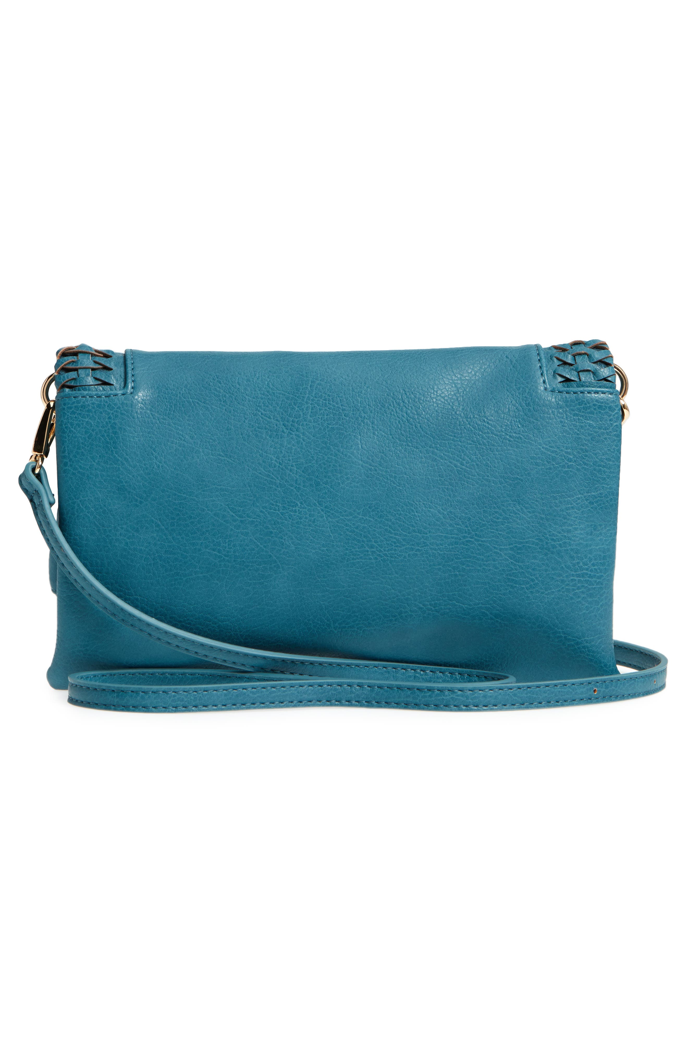 Tara Whipstitched Faux Leather Clutch,                             Alternate thumbnail 6, color,