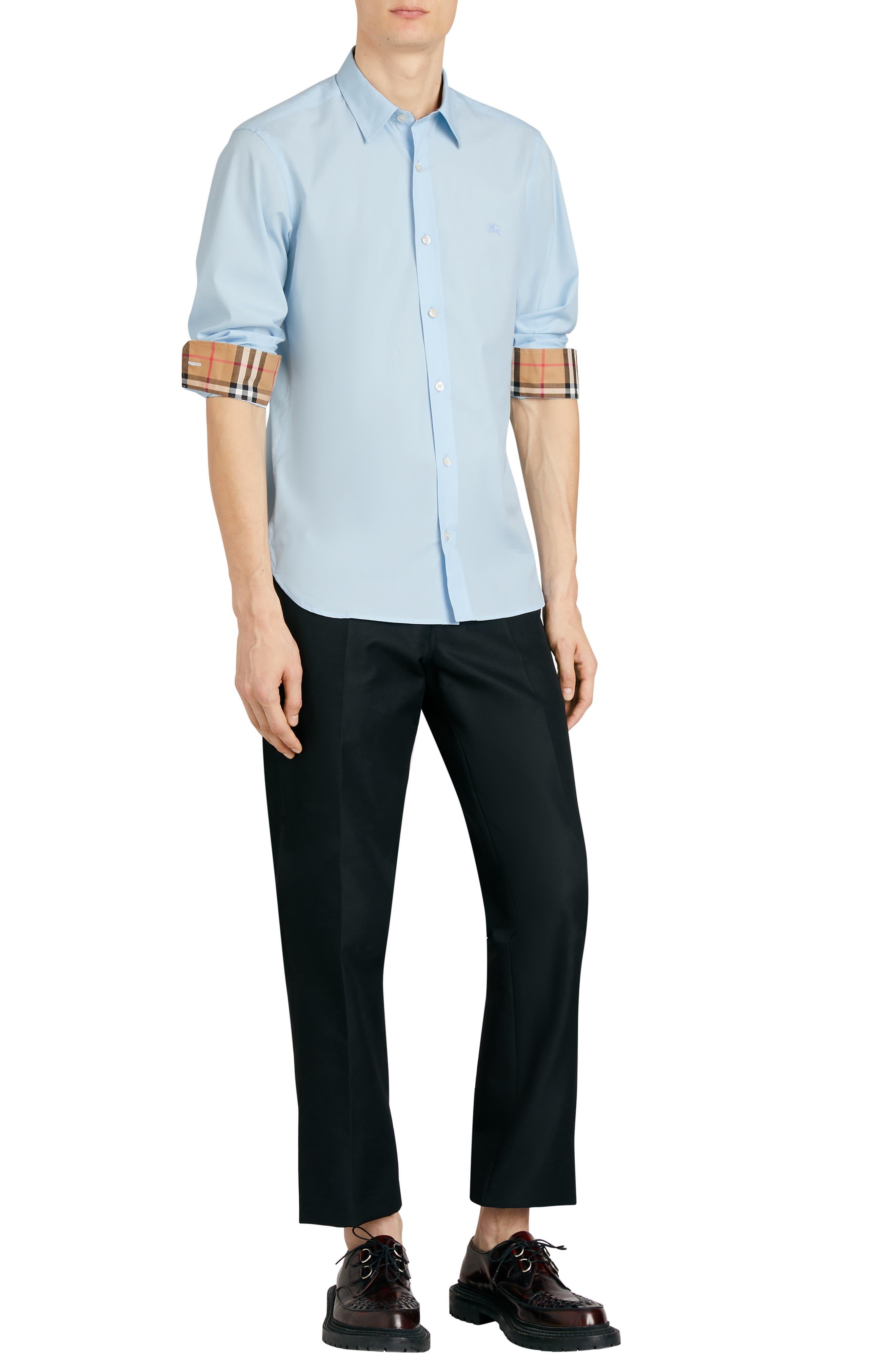 BURBERRY,                             William Stretch Poplin Sport Shirt,                             Alternate thumbnail 5, color,                             400