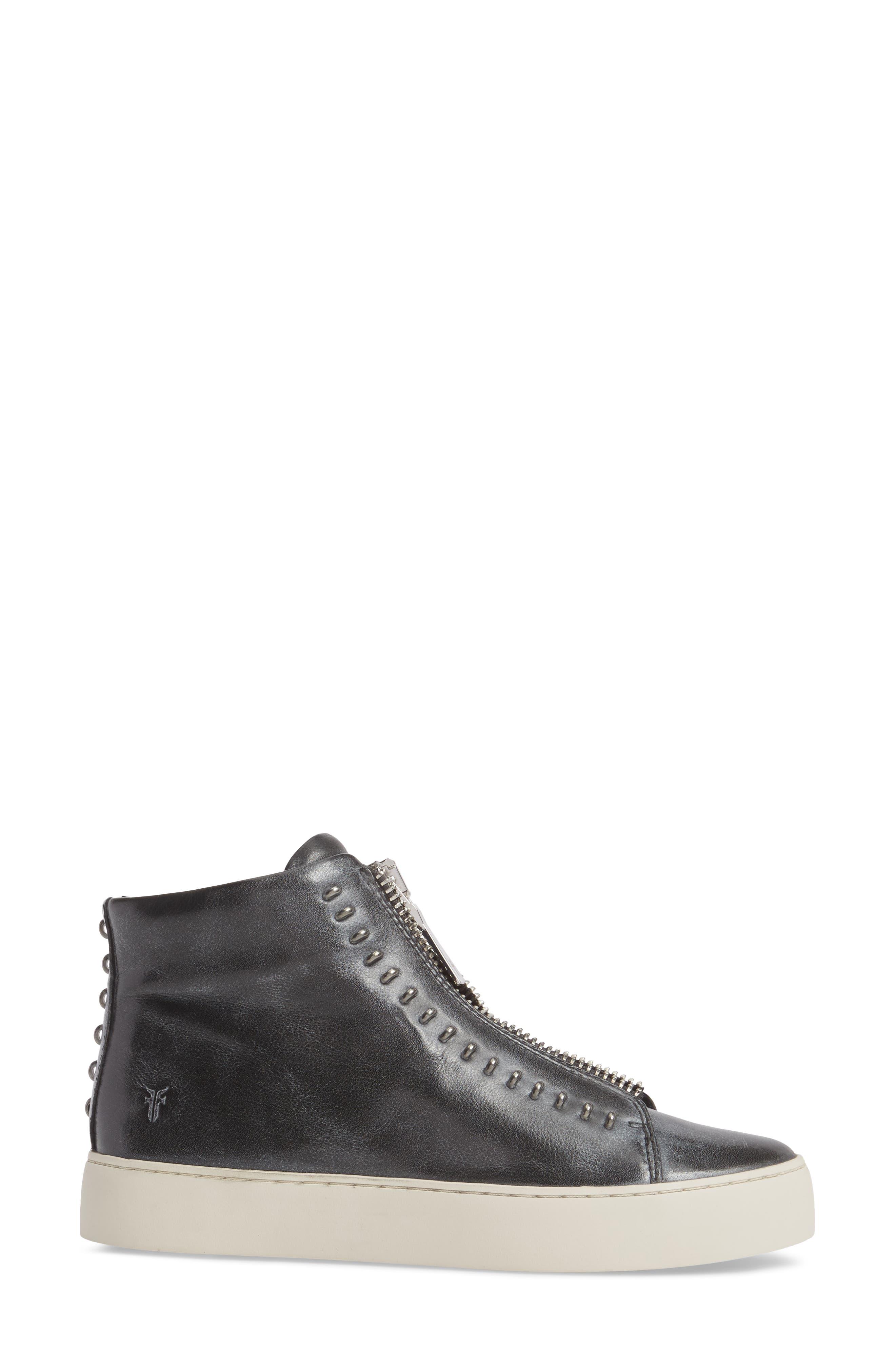 Lena Rebel Zip High Top Sneaker,                             Alternate thumbnail 3, color,                             BLACK