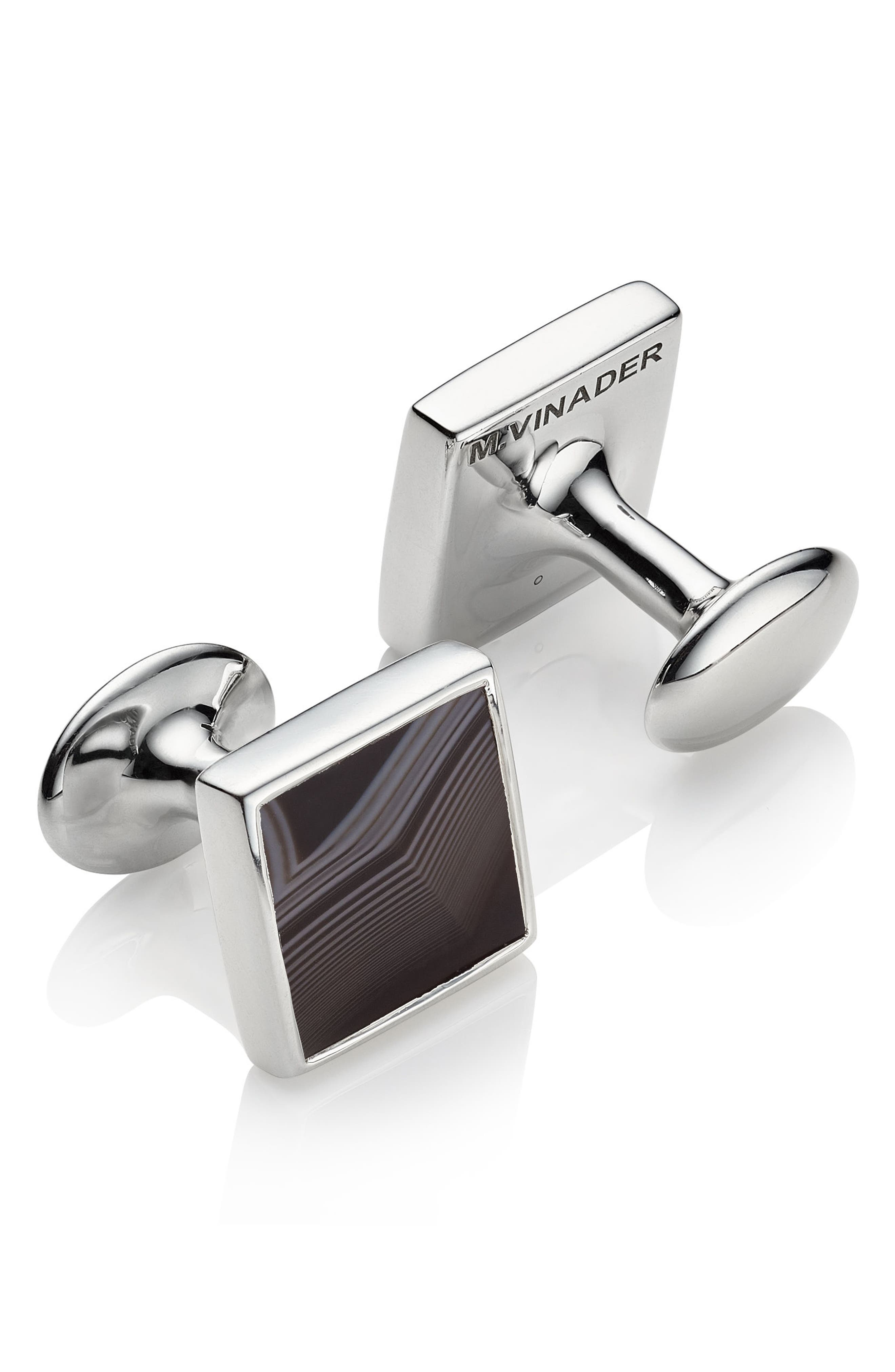 Alta Black Onyx Square Cuff Links,                             Alternate thumbnail 2, color,                             040