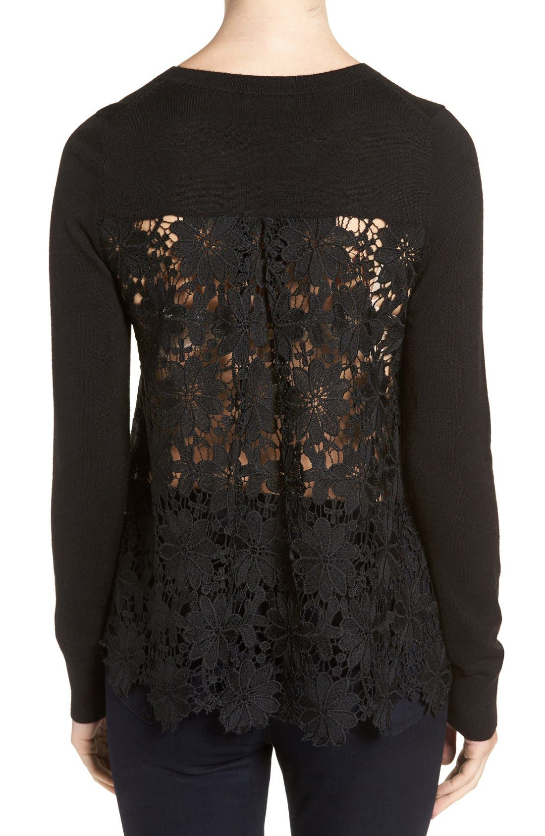 Lace Back Sweater,                             Alternate thumbnail 11, color,                             001