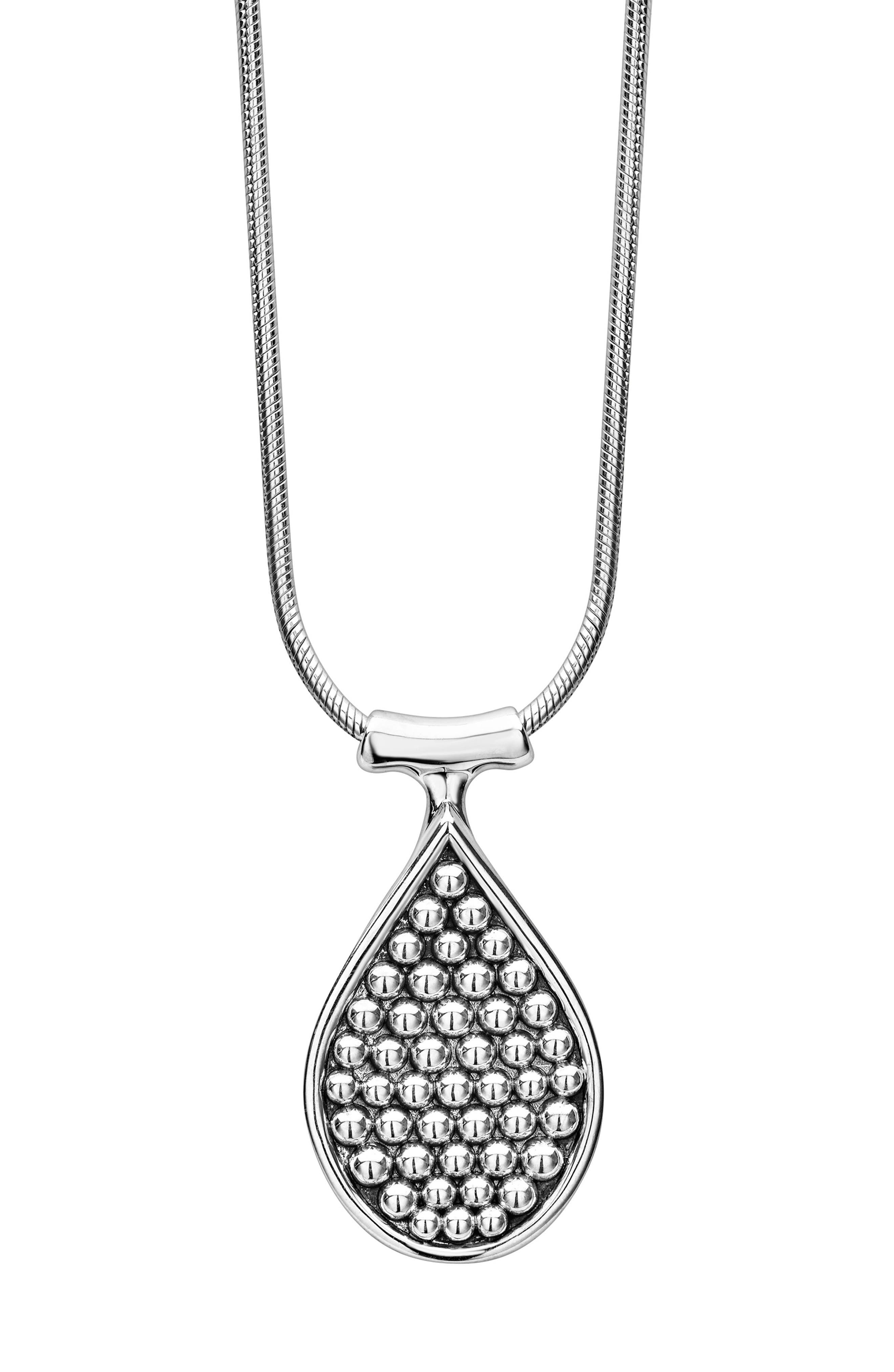 Bold Caviar Flat Drop Pendant,                             Alternate thumbnail 2, color,                             SILVER