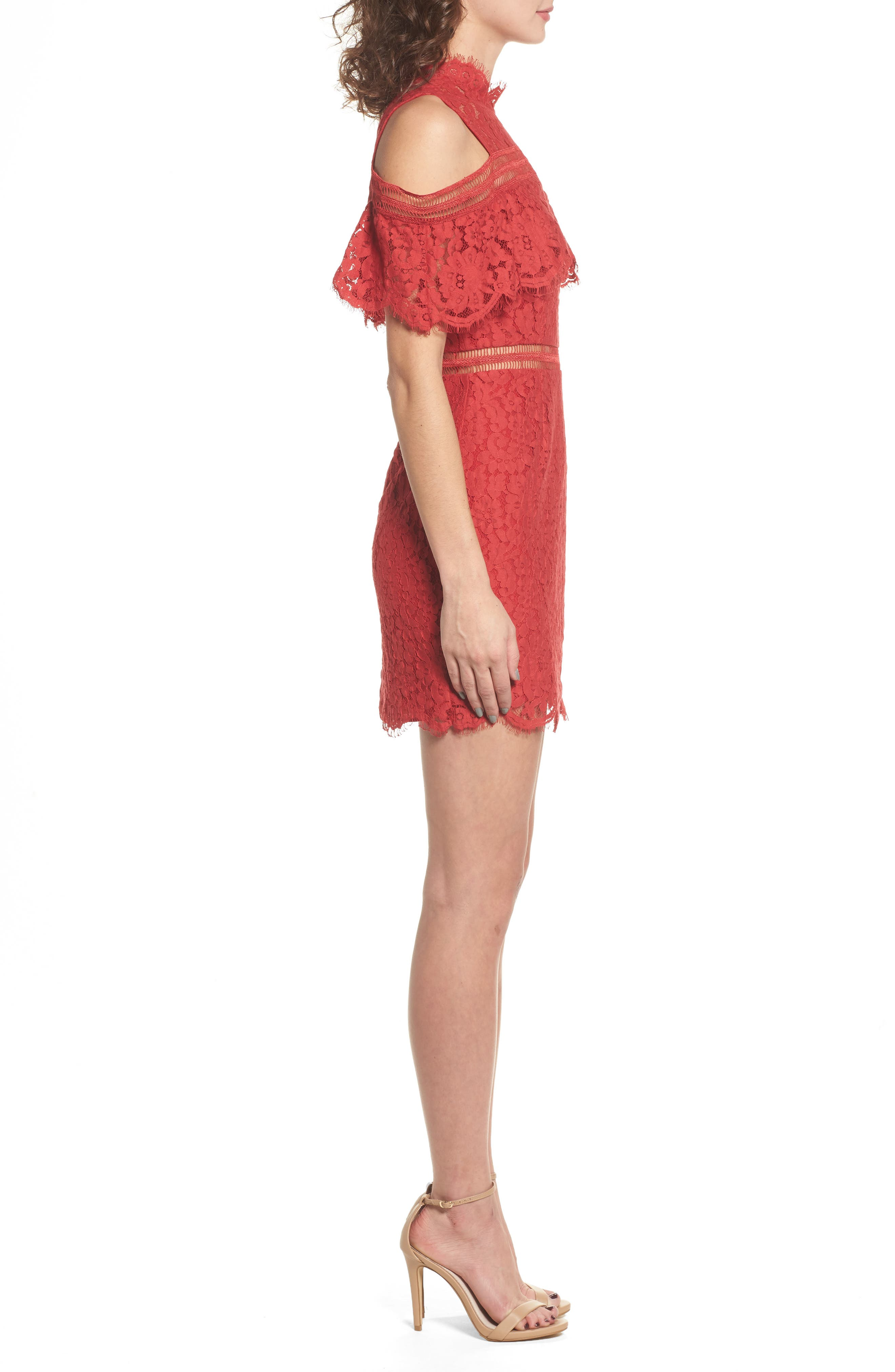 Butterfly Lace Cold Shoulder Dress,                             Alternate thumbnail 3, color,                             623