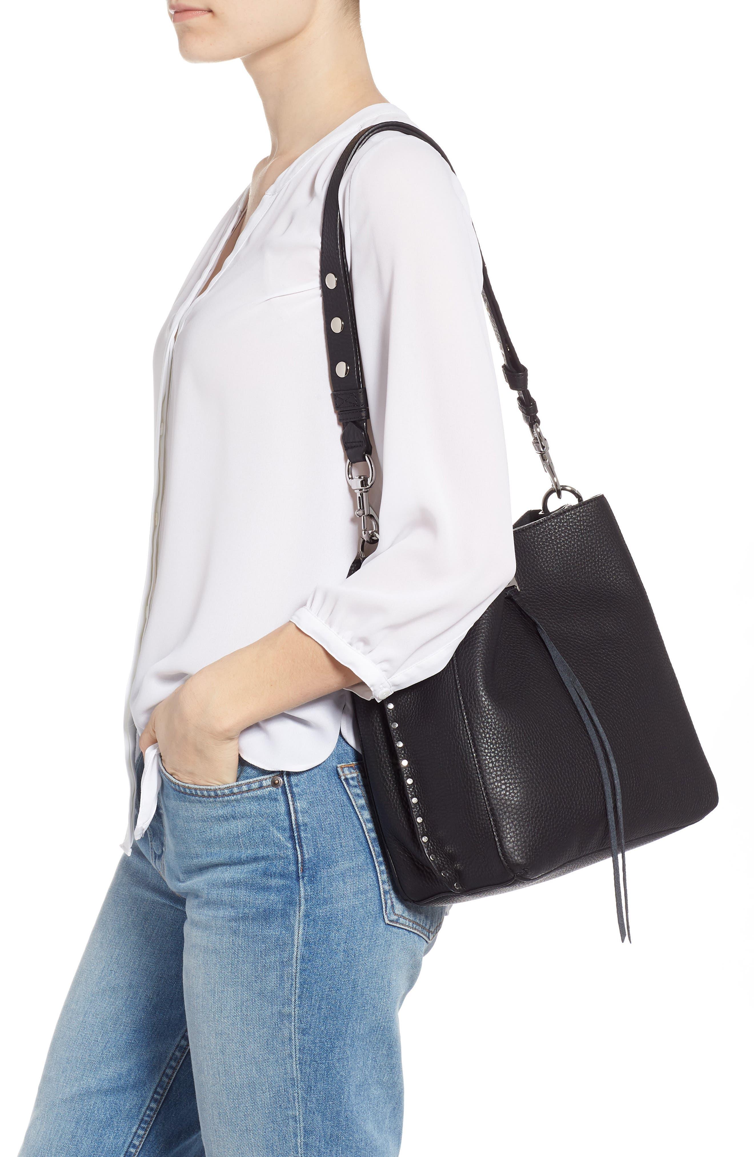 Darren Deerskin Leather Shoulder Bag,                             Alternate thumbnail 2, color,                             JET BLACK