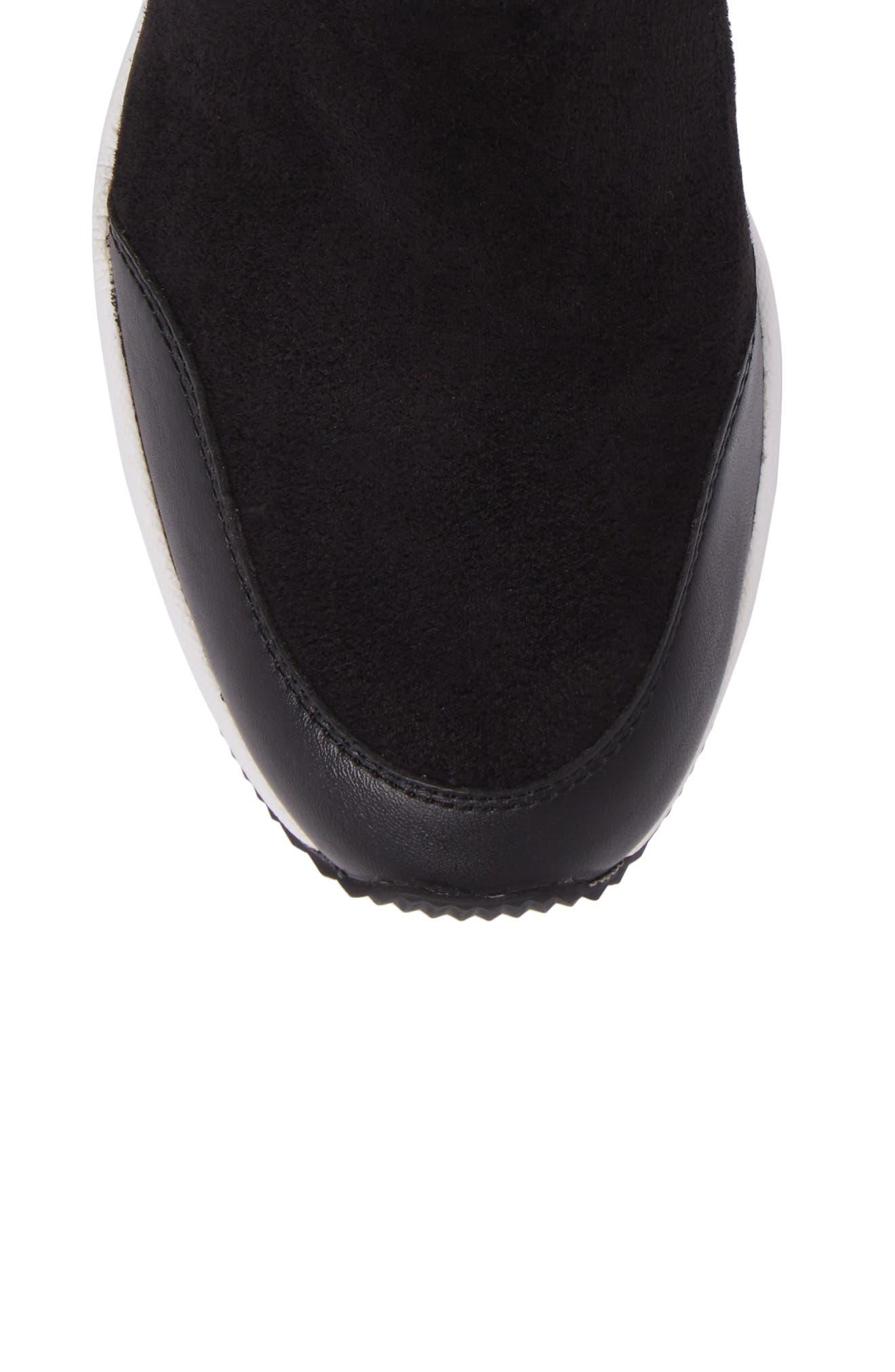 'Ace' Wedge Sneaker Bootie,                             Alternate thumbnail 5, color,                             BLACK SUEDE