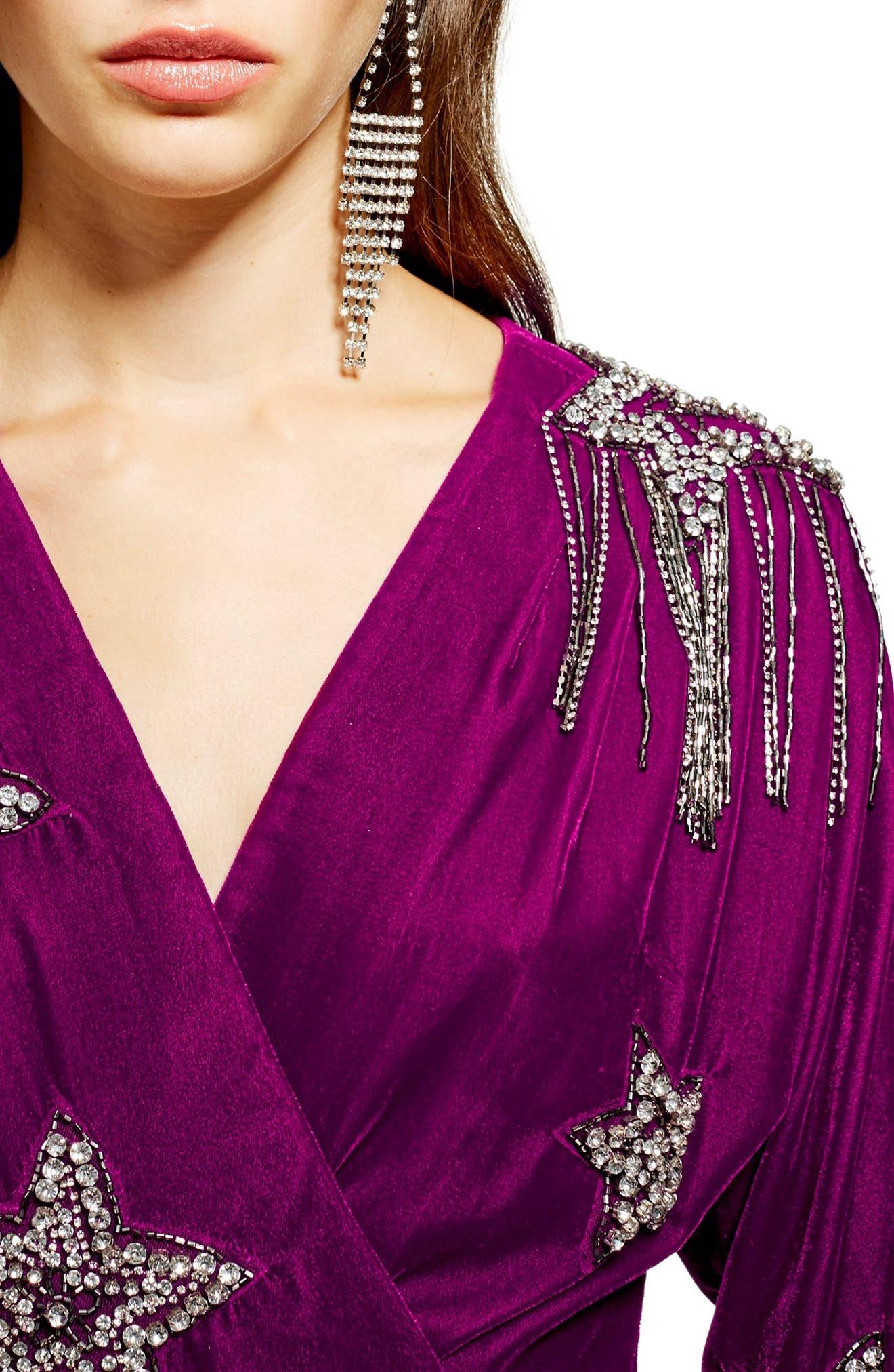Velvet Embroidered Wrap Dress,                             Alternate thumbnail 3, color,                             540