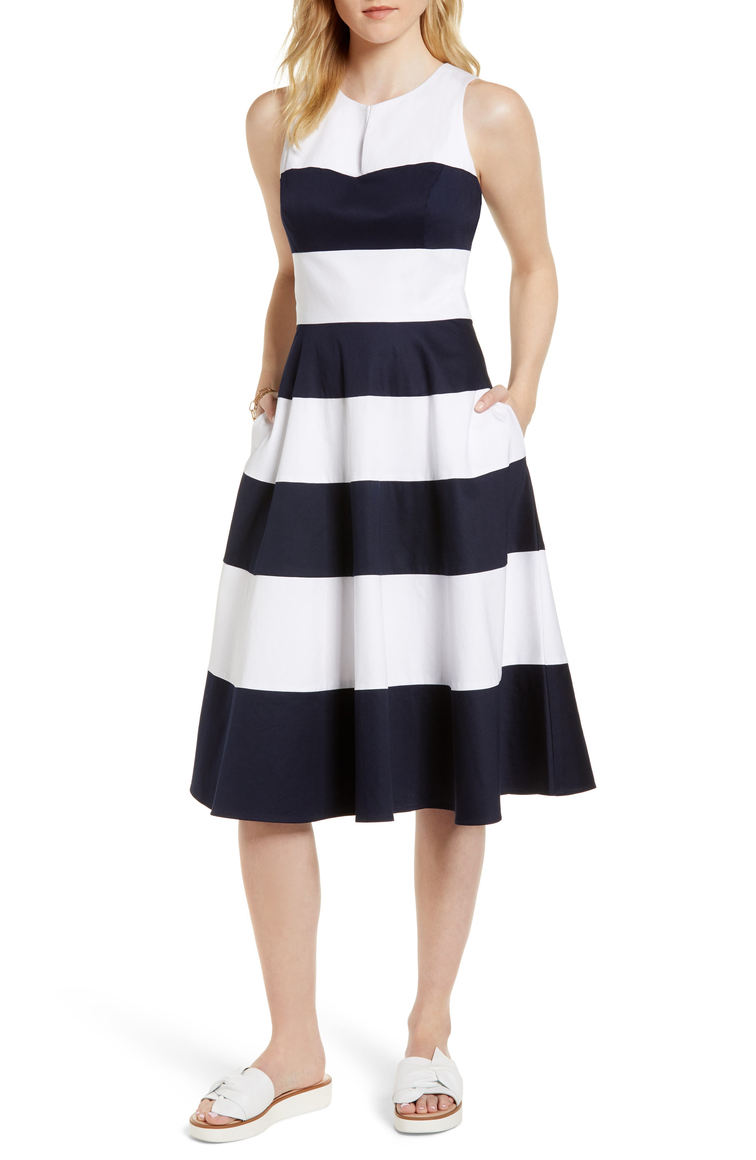 Stripe Fit & Flare Dress,                         Main,                         color, 410
