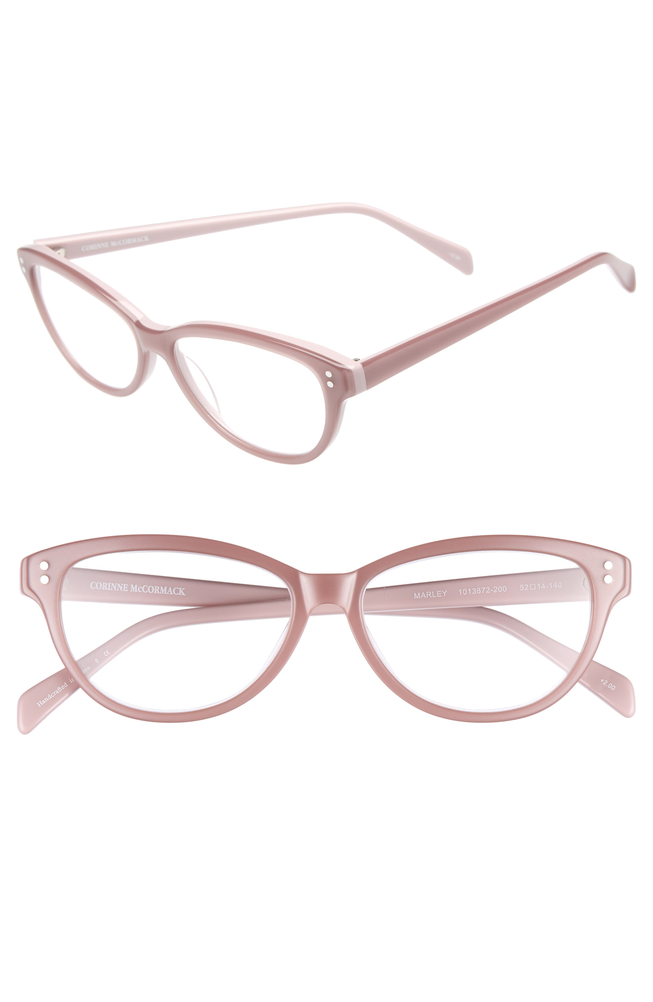 Marley 52mm Reading Glasses,                         Main,                         color, PINK