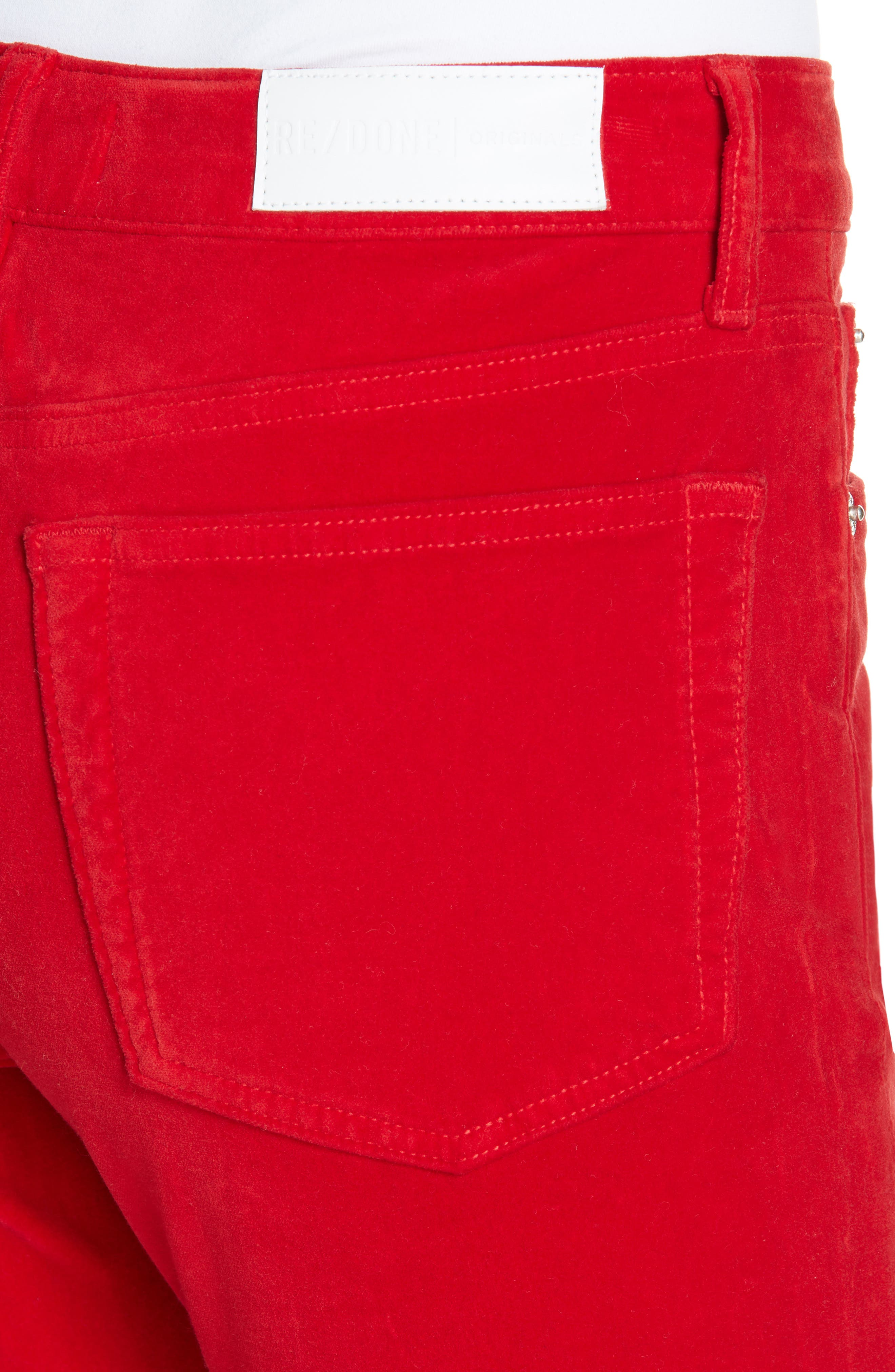 Velvet Crop Kick Flare Jeans,                             Alternate thumbnail 4, color,                             RED