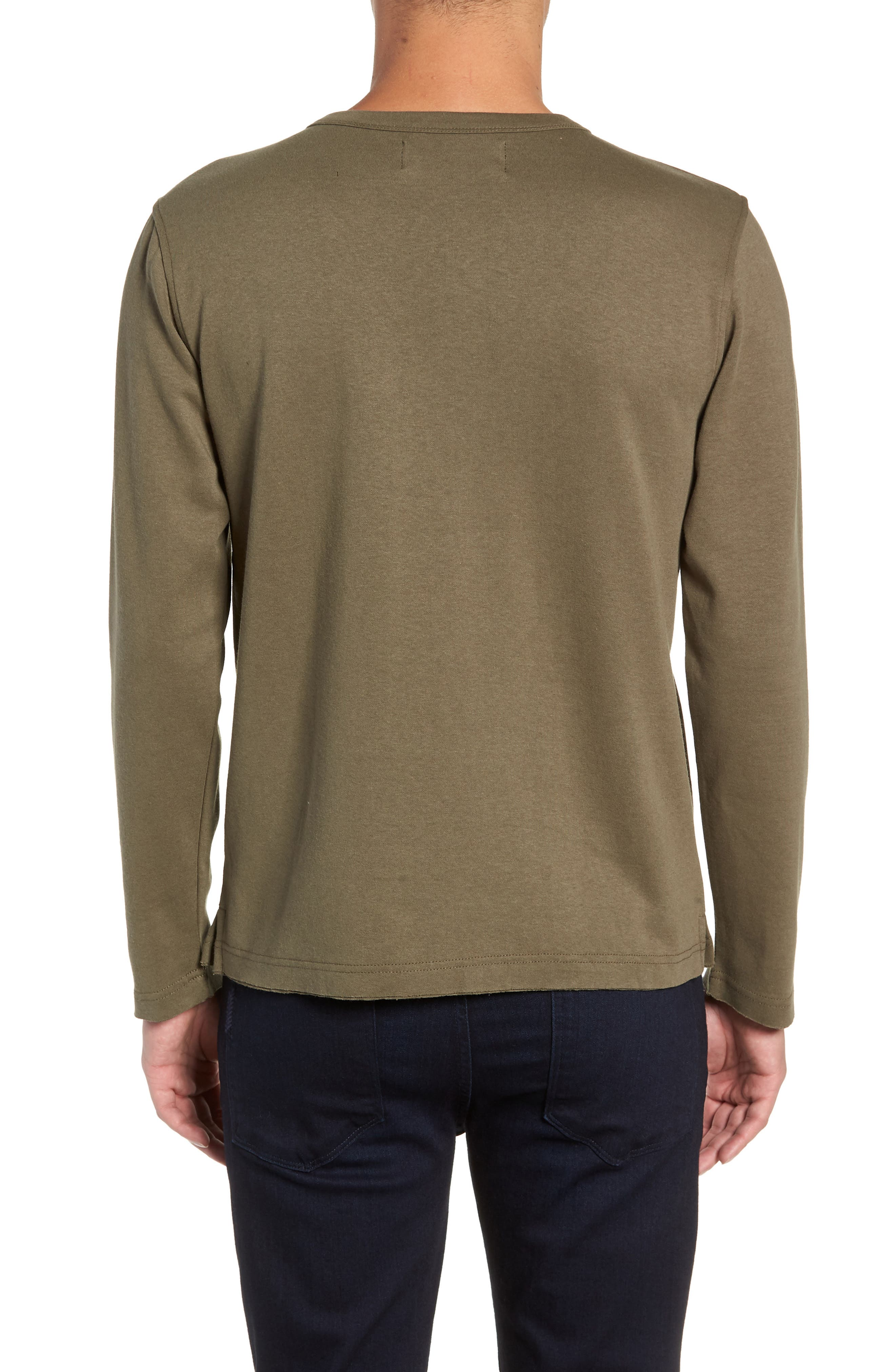 Trim Fit Long Sleeve Pocket T-Shirt,                             Alternate thumbnail 2, color,                             OLIVE