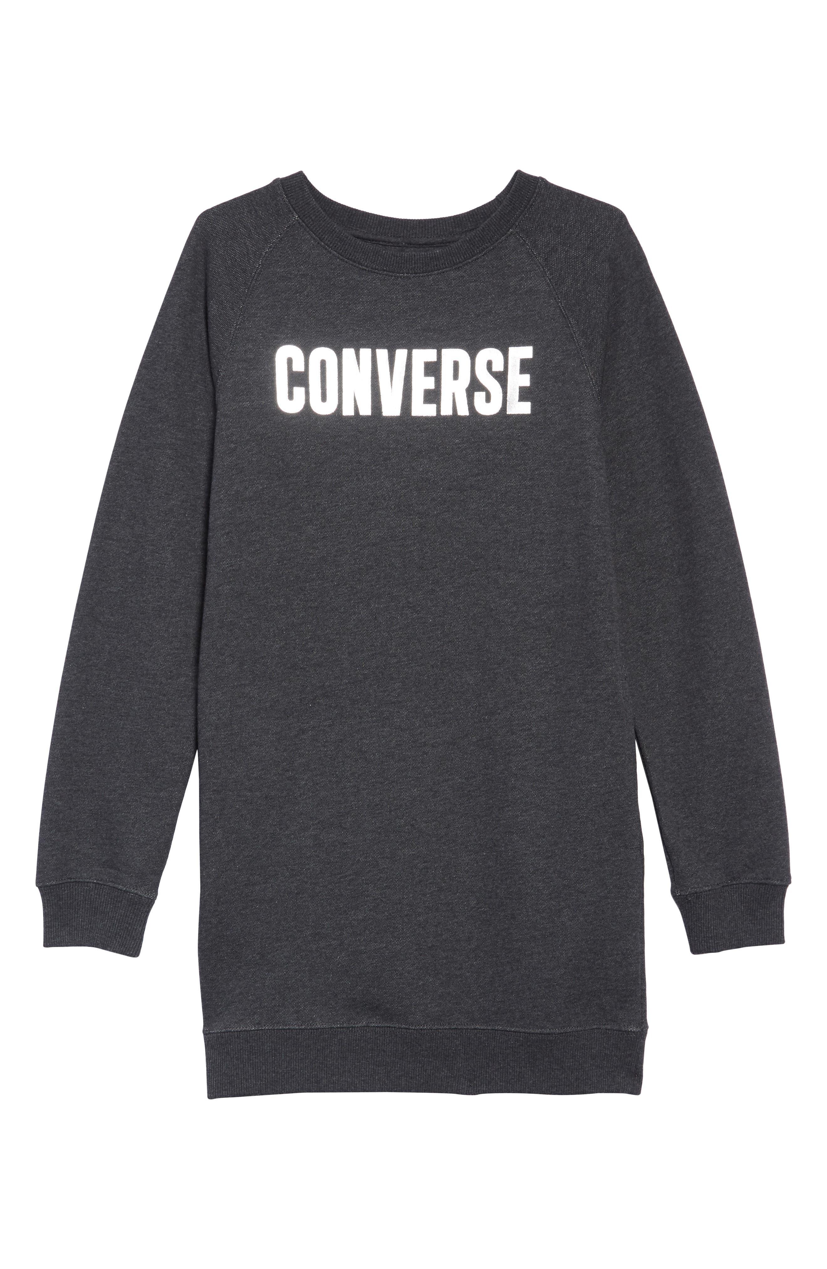 Sweatshirt Dress,                         Main,                         color, BLACK HEATHER
