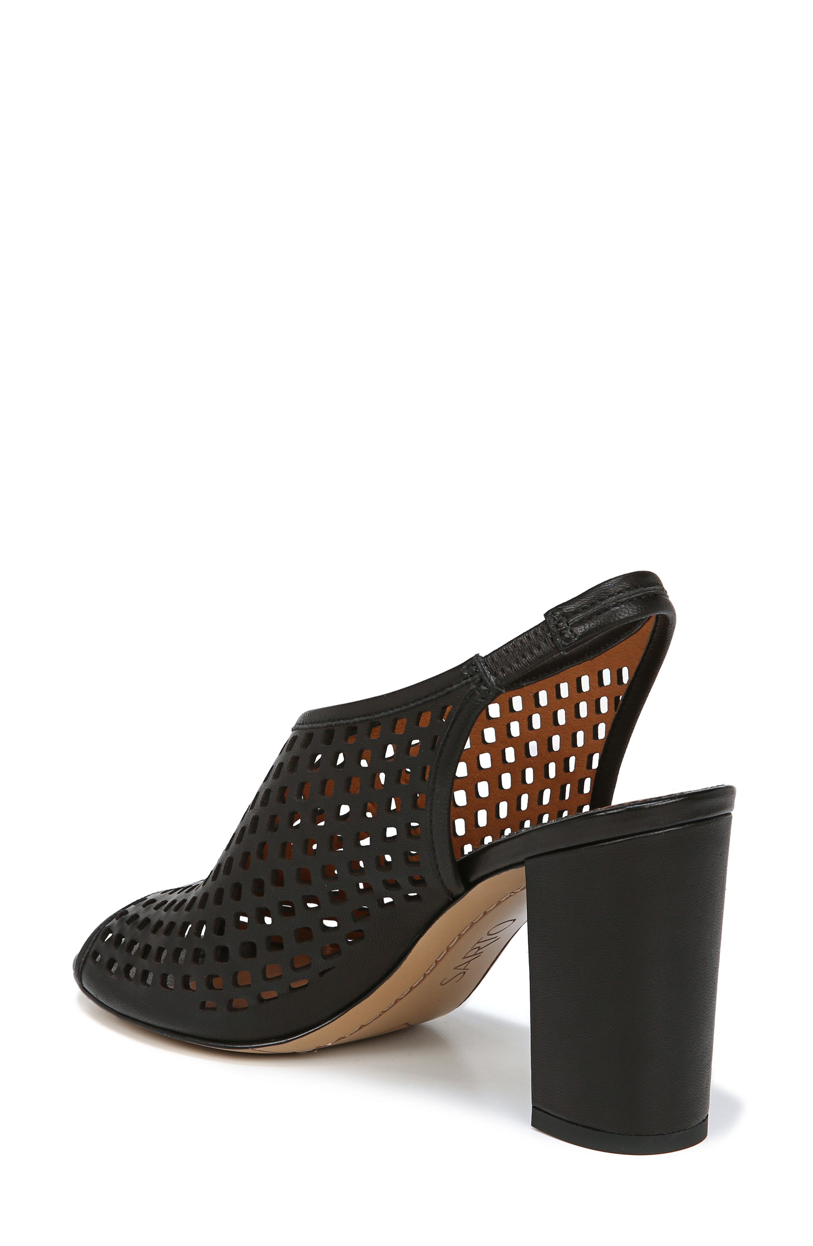 Osbourne Perforated Slingback Sandal,                             Alternate thumbnail 2, color,                             BLACK LEATHER