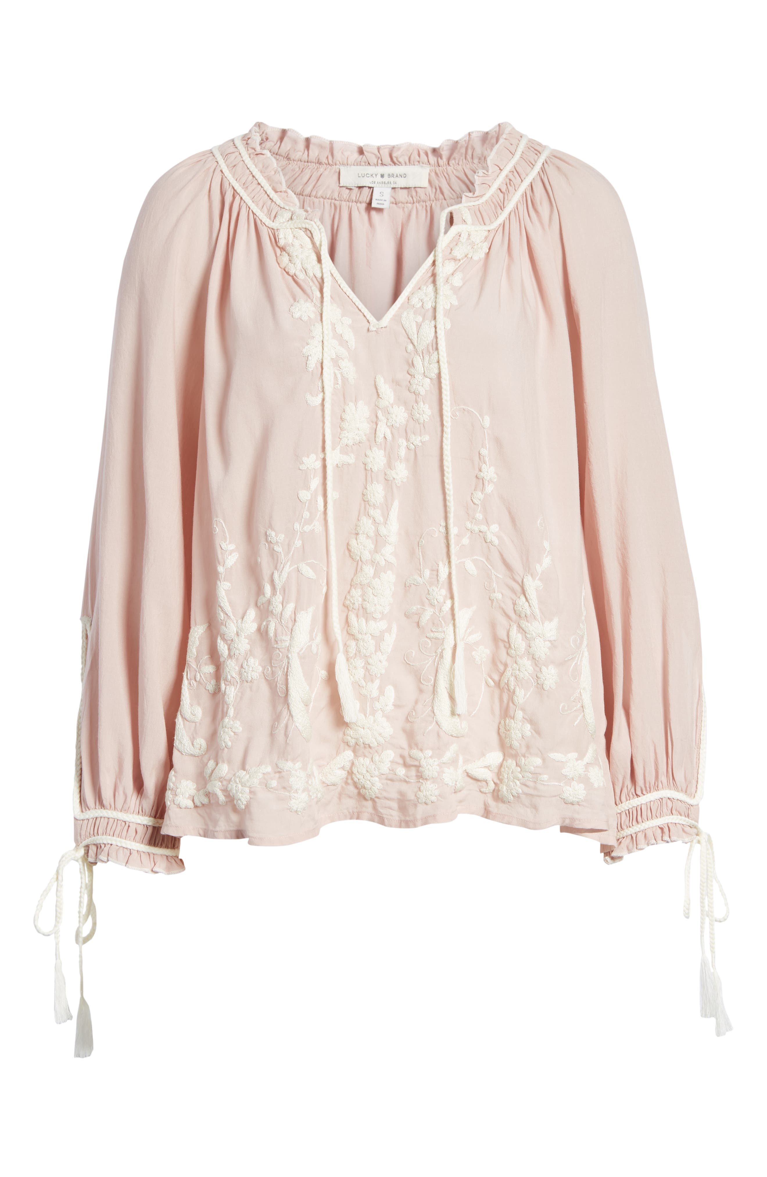 Embroidered Peasant Blouse,                             Alternate thumbnail 6, color,                             690