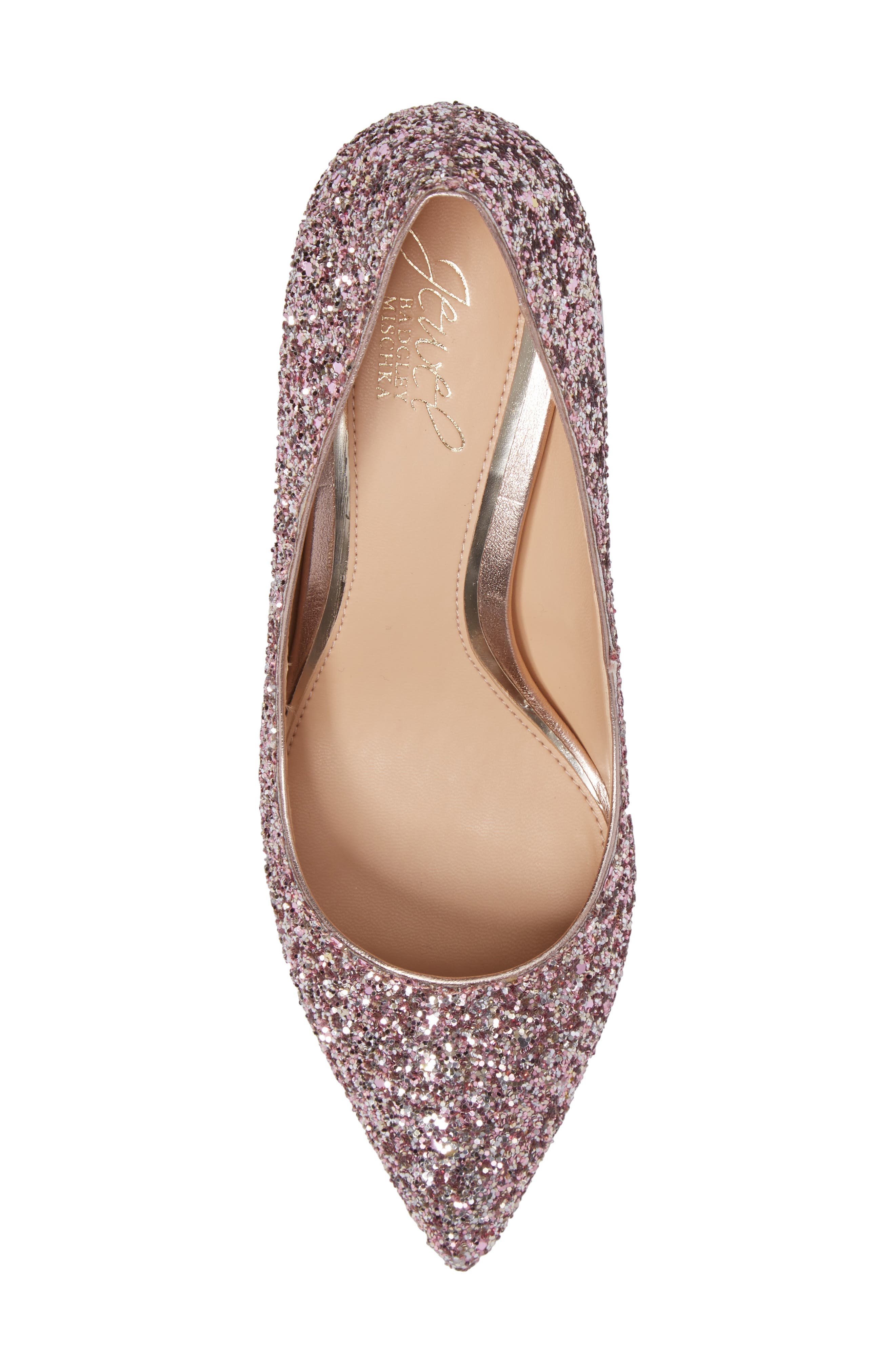 Lyla Glitter Pointy Toe Pump,                             Alternate thumbnail 5, color,                             ROSE GOLD