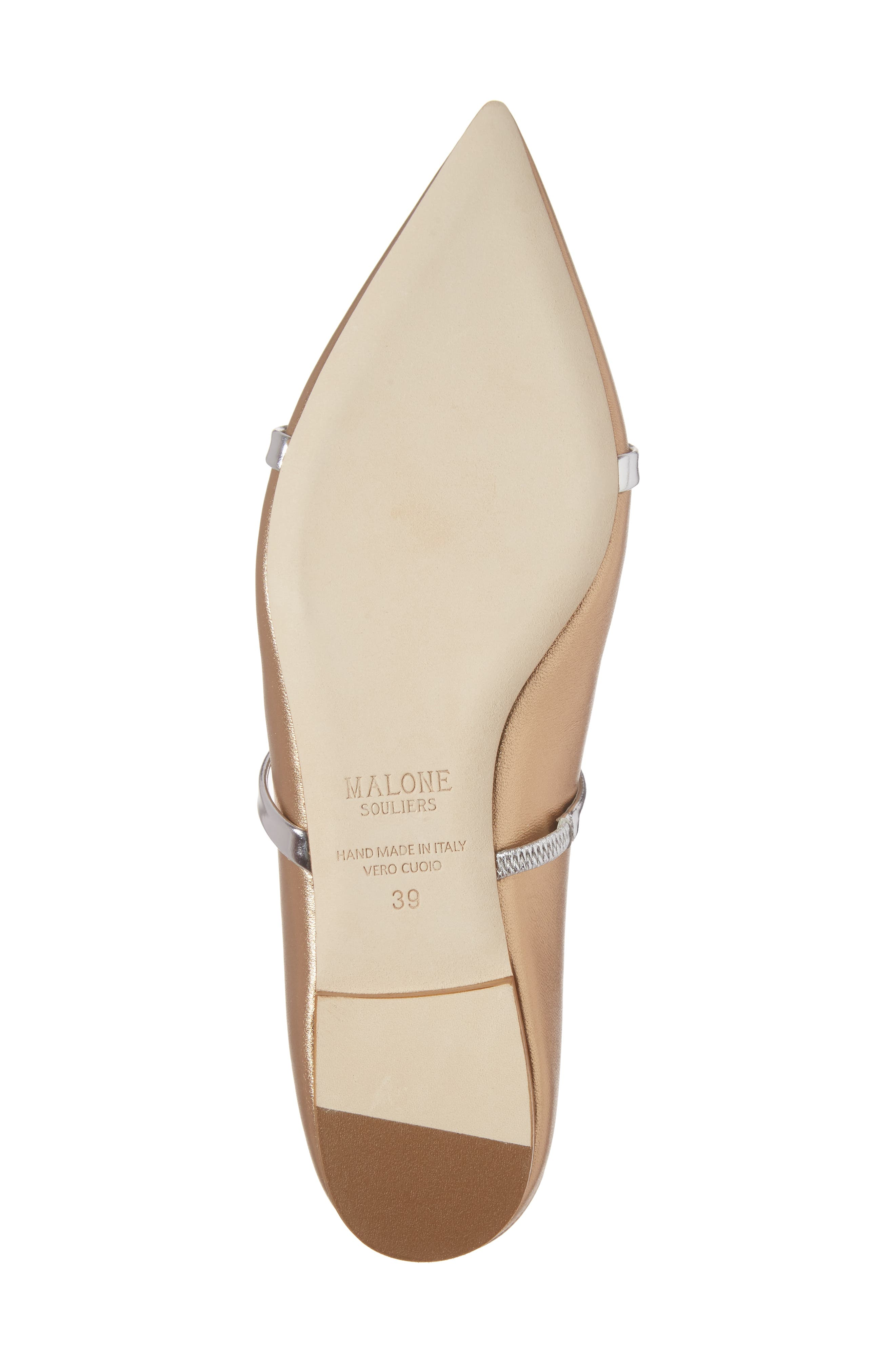 Maureen Pointy Toe Flat,                             Alternate thumbnail 6, color,                             GOLD/ SILVER