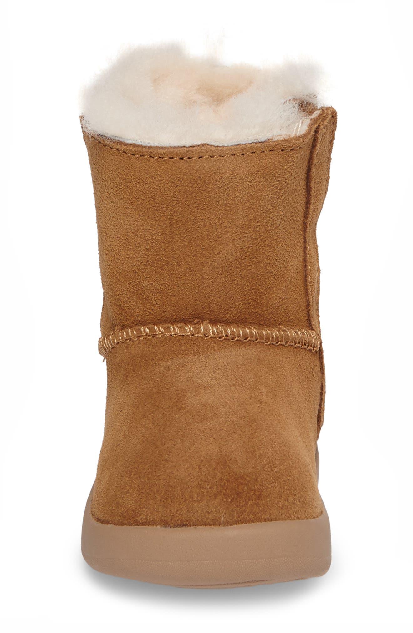 Keelan Genuine Shearling Baby Boot,                             Alternate thumbnail 4, color,                             CHESTNUT BROWN