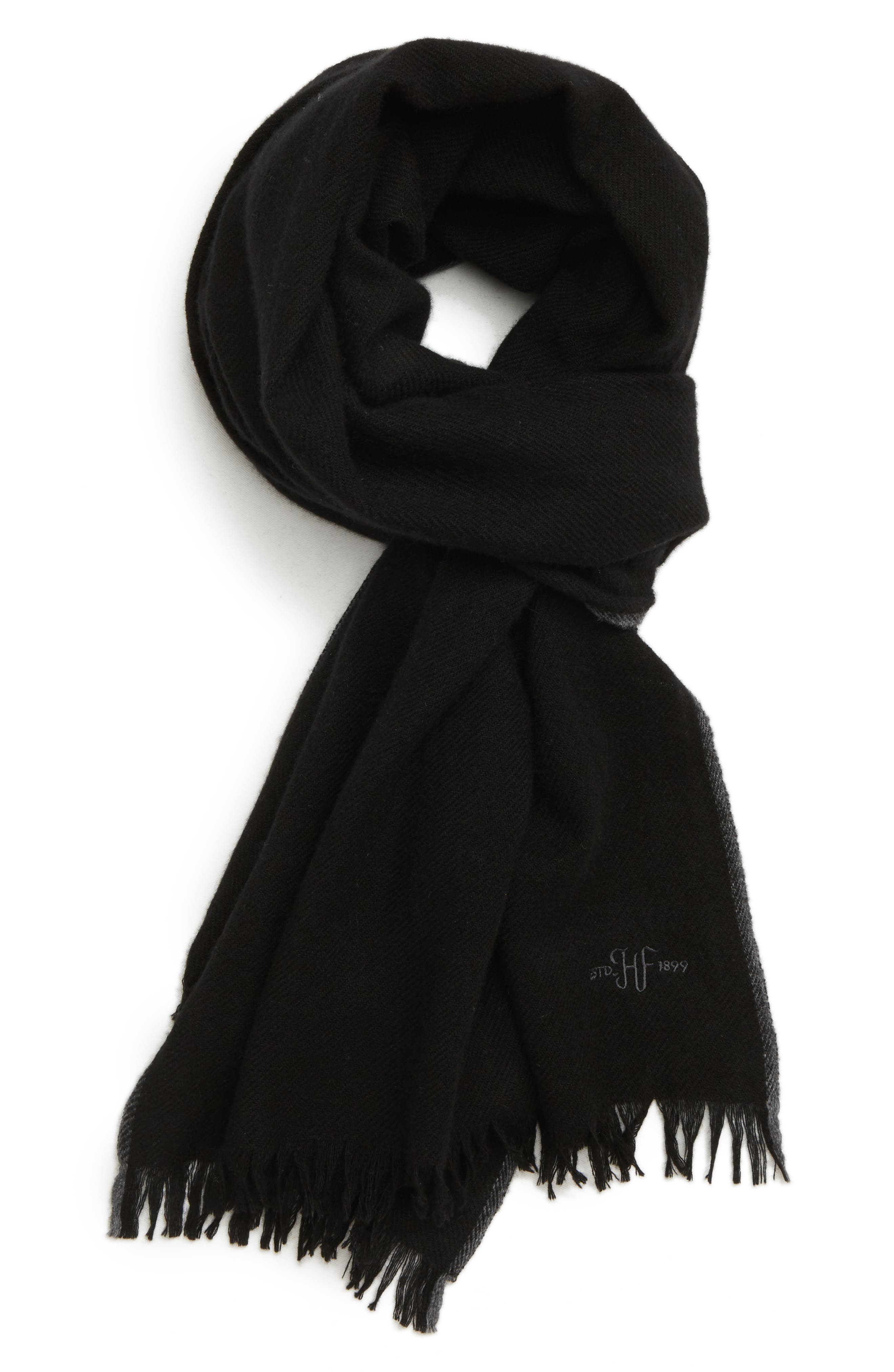 Cashmere Scarf,                         Main,                         color, BLACK/ GREY