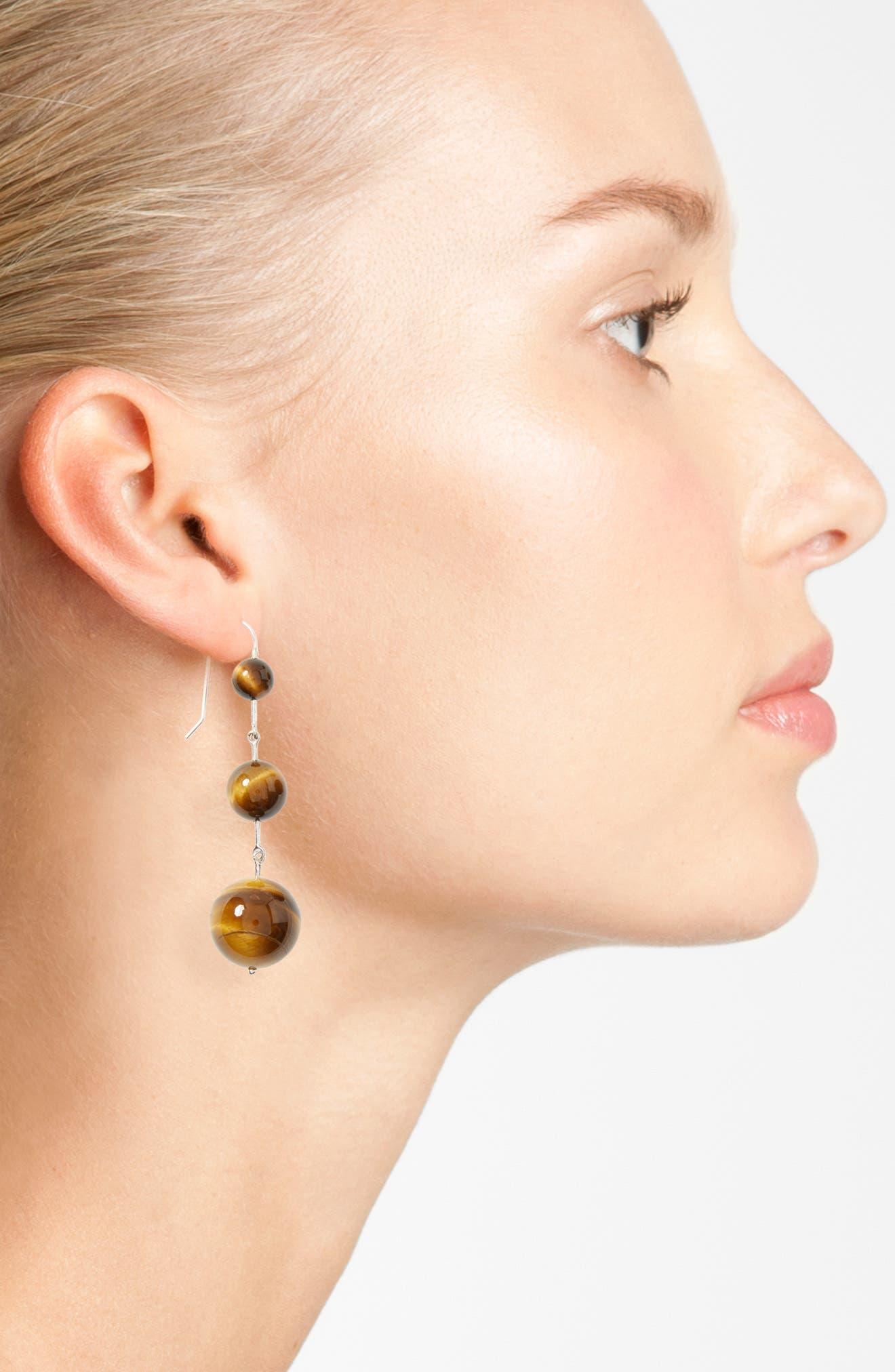 Sterling Silver & Tiger's Eye Drop Earrings,                             Alternate thumbnail 2, color,                             040