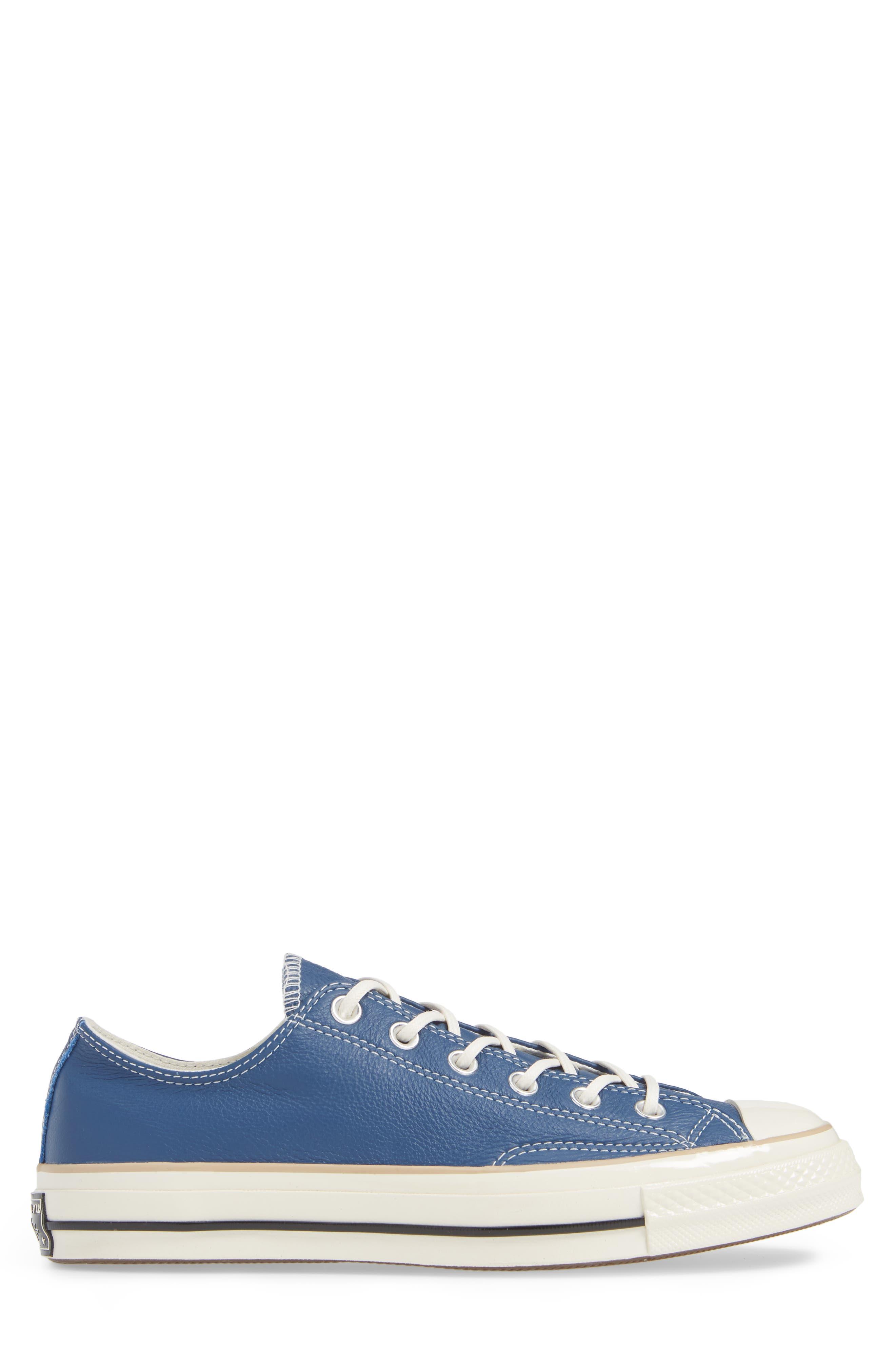 Chuck 70 Boot Leather Low Top Sneaker,                             Alternate thumbnail 3, color,                             DARK BURGUNDY/ CYAN/ EGRET