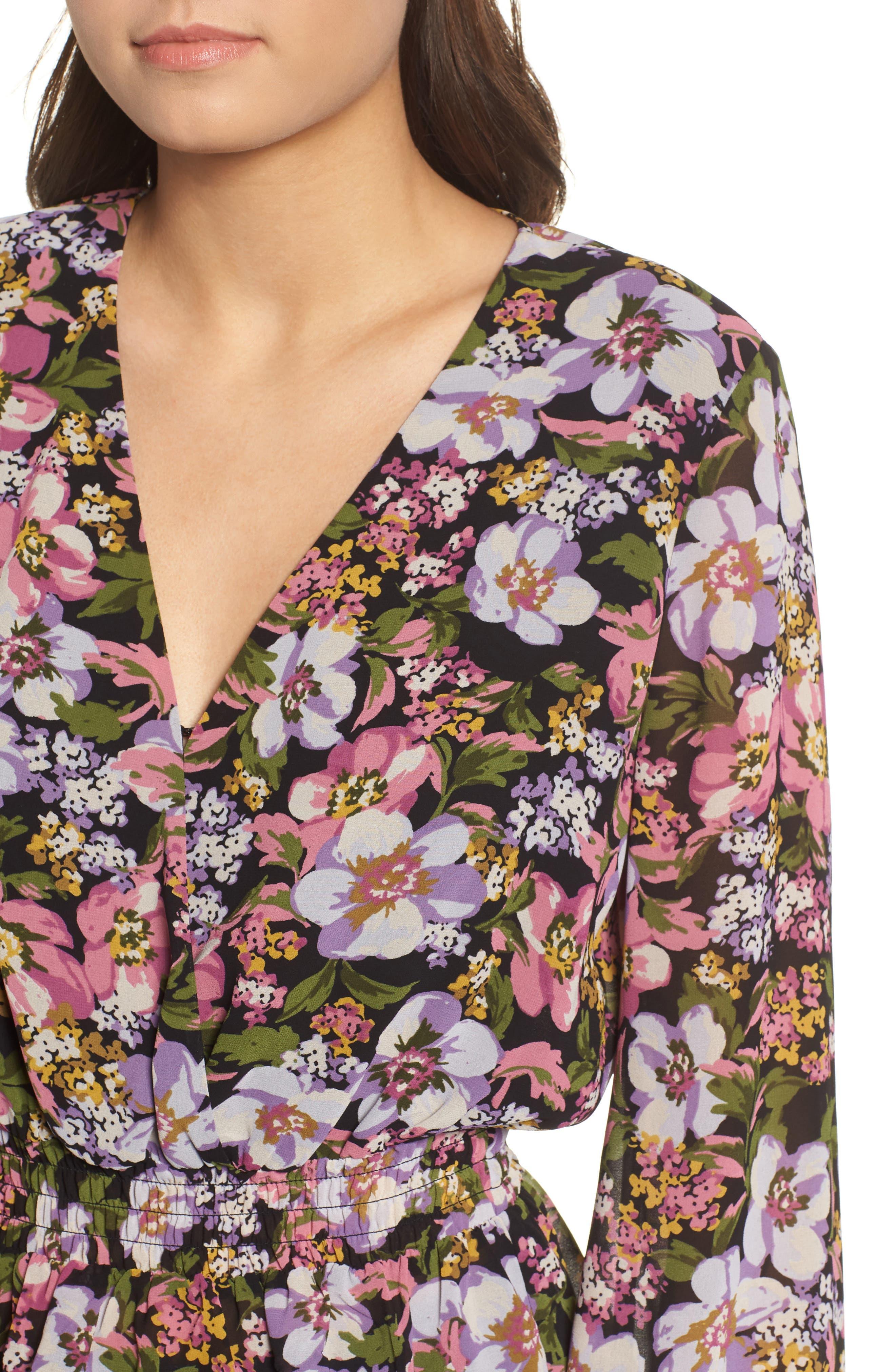 Beth Floral Top,                             Alternate thumbnail 4, color,                             BLACK PETAL FLORAL