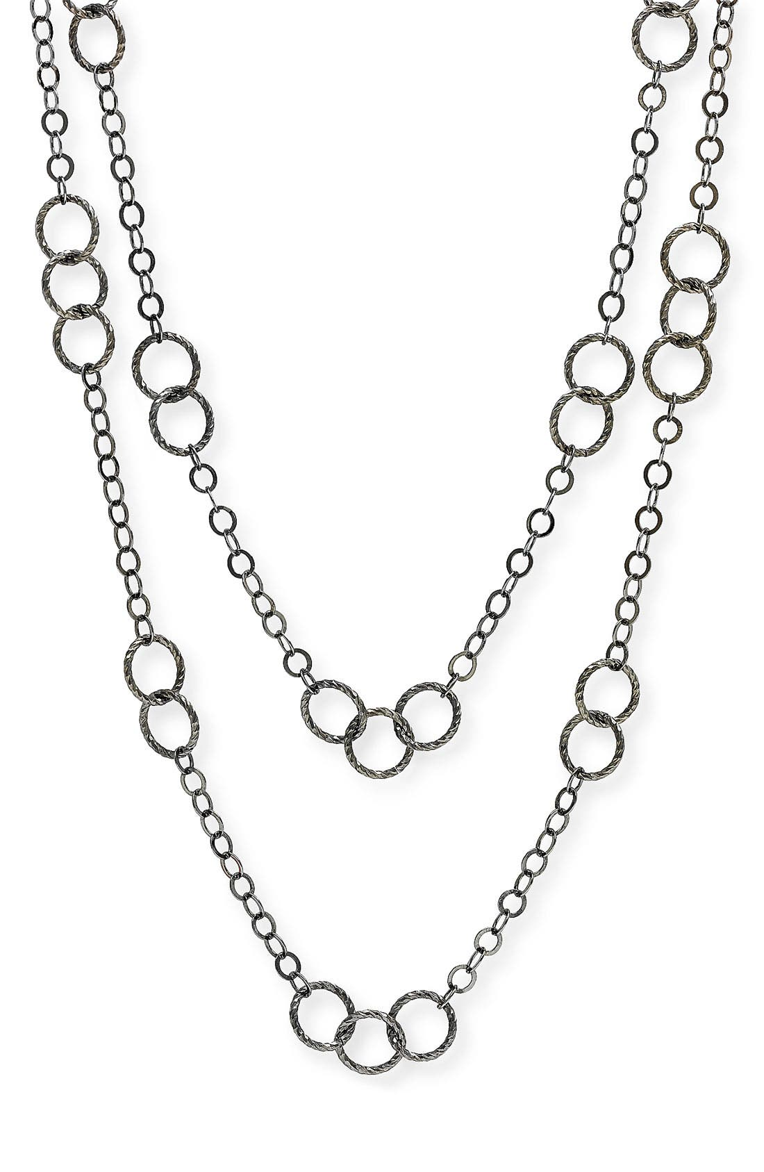 Long Circle Link Necklace, Main, color, 001