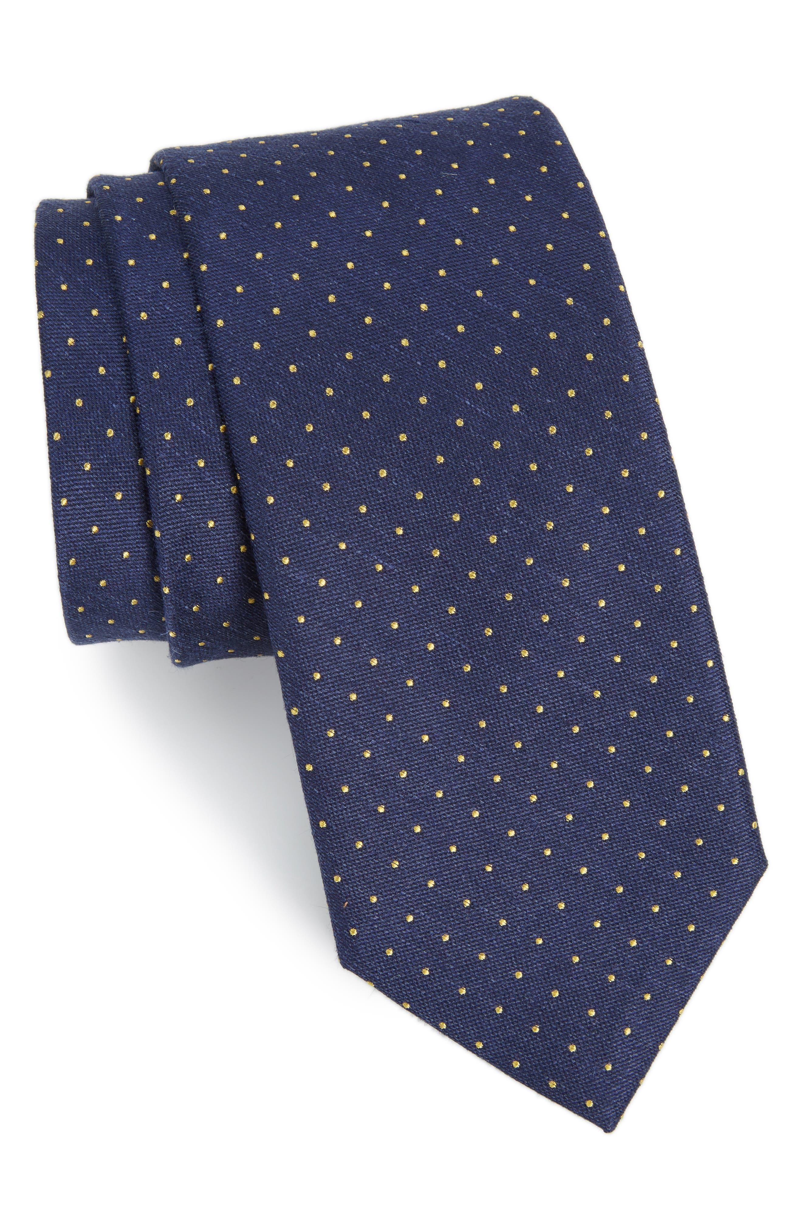 Rivington Dots Silk & Linen Tie,                             Main thumbnail 1, color,