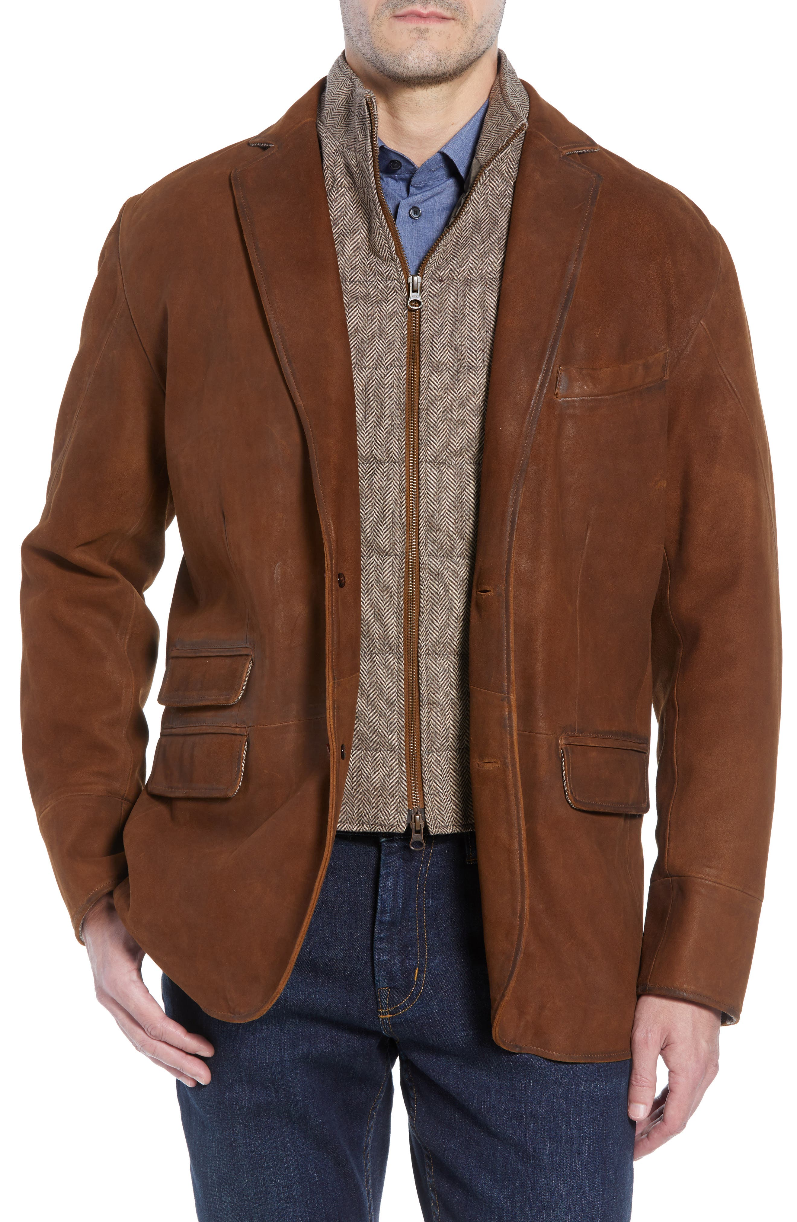 Classic Fit Distressed Leather Hybrid Coat,                             Alternate thumbnail 2, color,                             BROWN