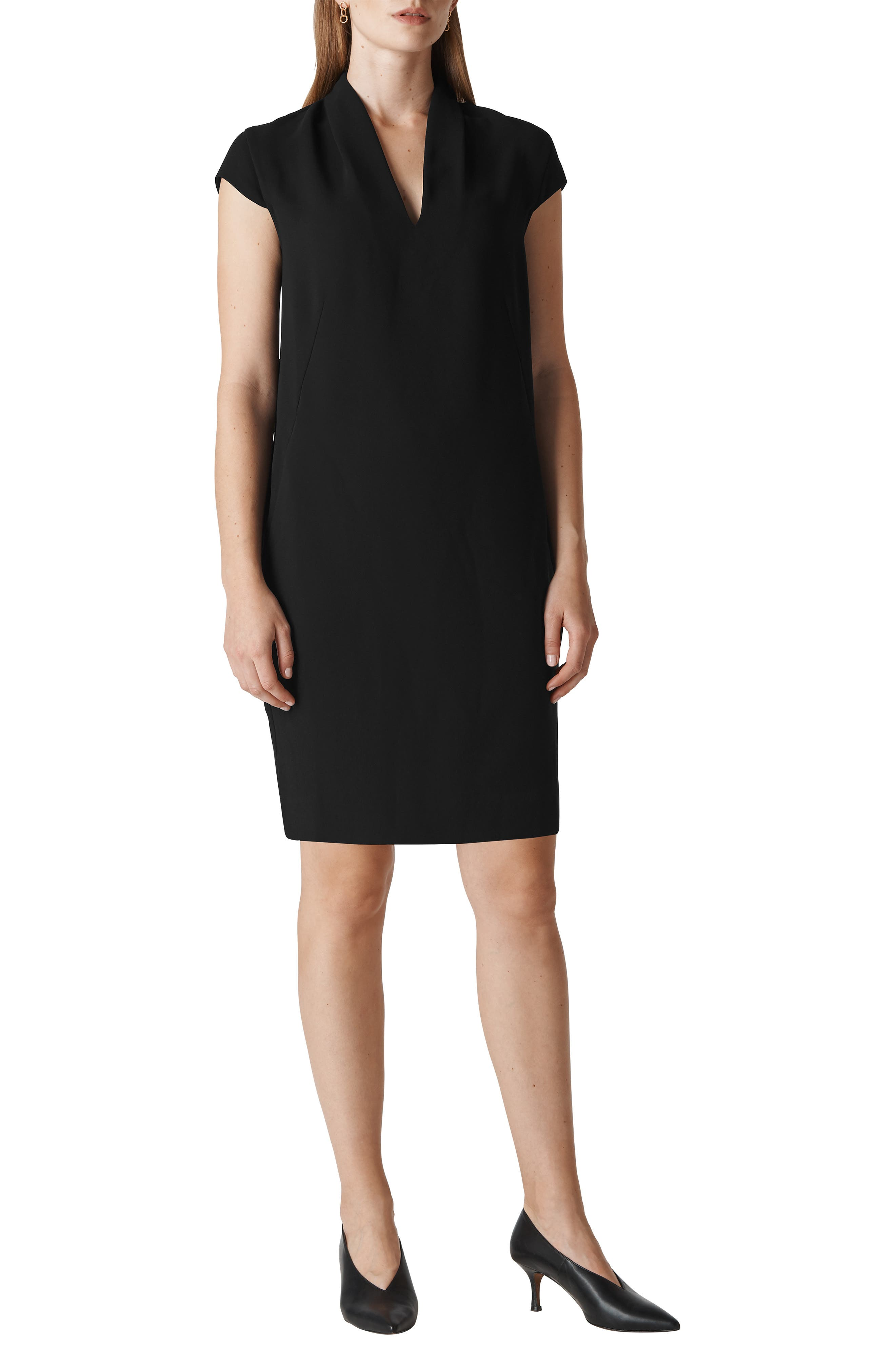 Paige Shift Dress,                         Main,                         color, BLACK