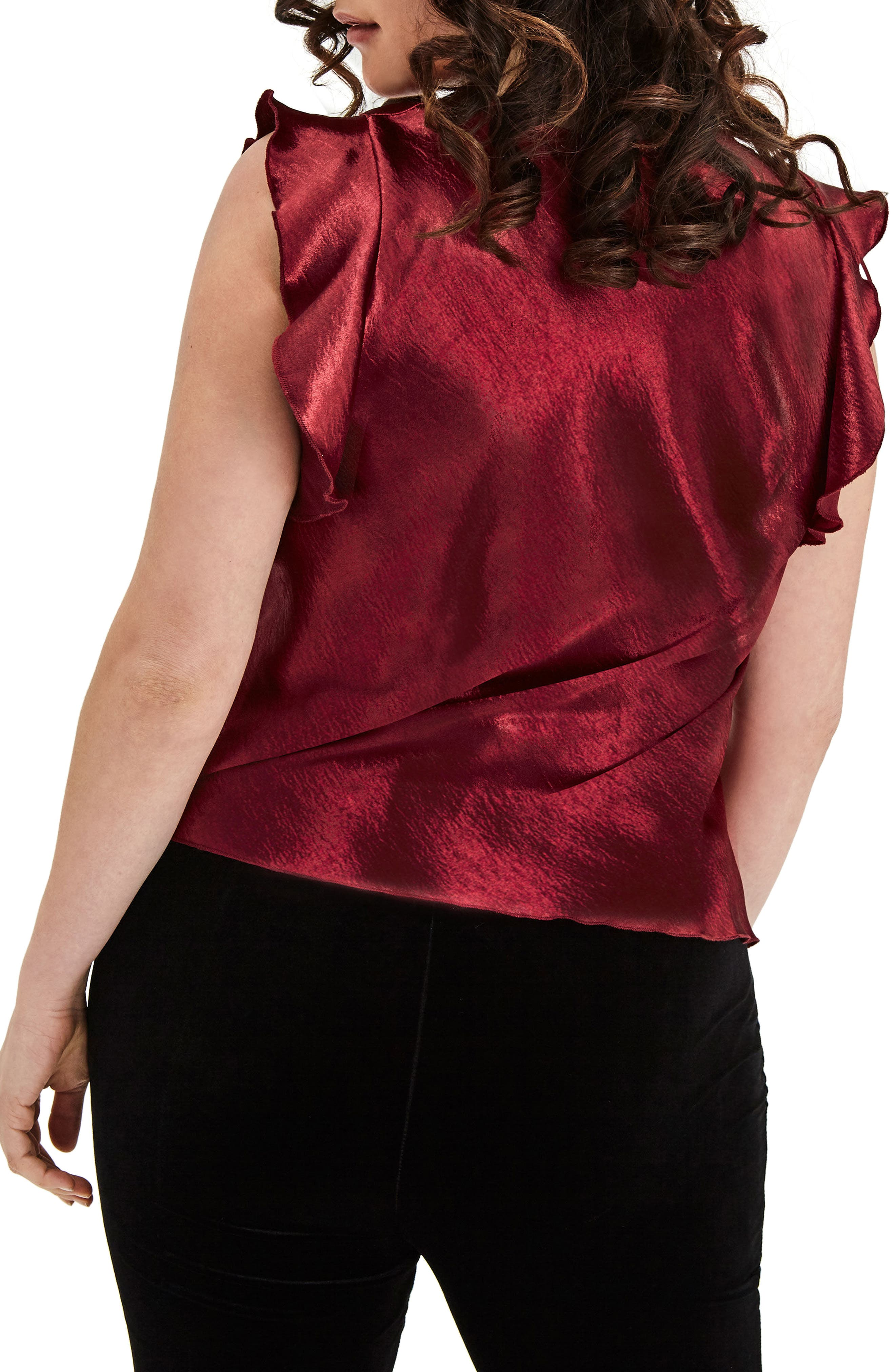 Wine Satin Top,                             Alternate thumbnail 2, color,                             640