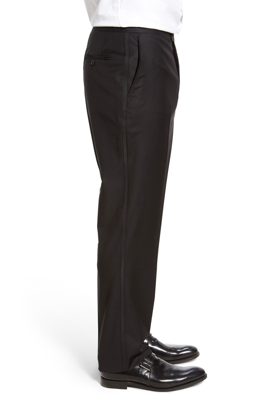 Classic B Fit Flat Front Wool Formal Trousers,                             Alternate thumbnail 3, color,                             001
