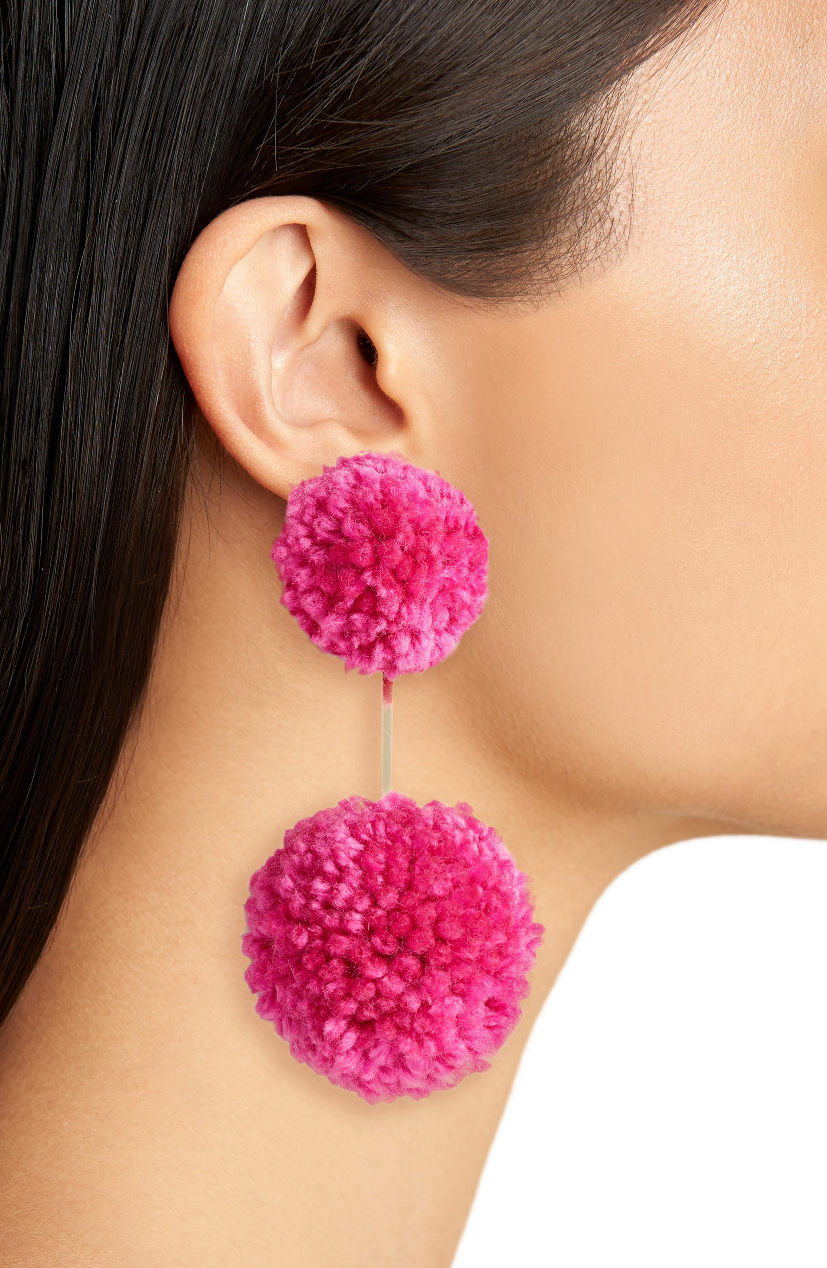 Yarn Double Pompom Earrings,                             Alternate thumbnail 4, color,