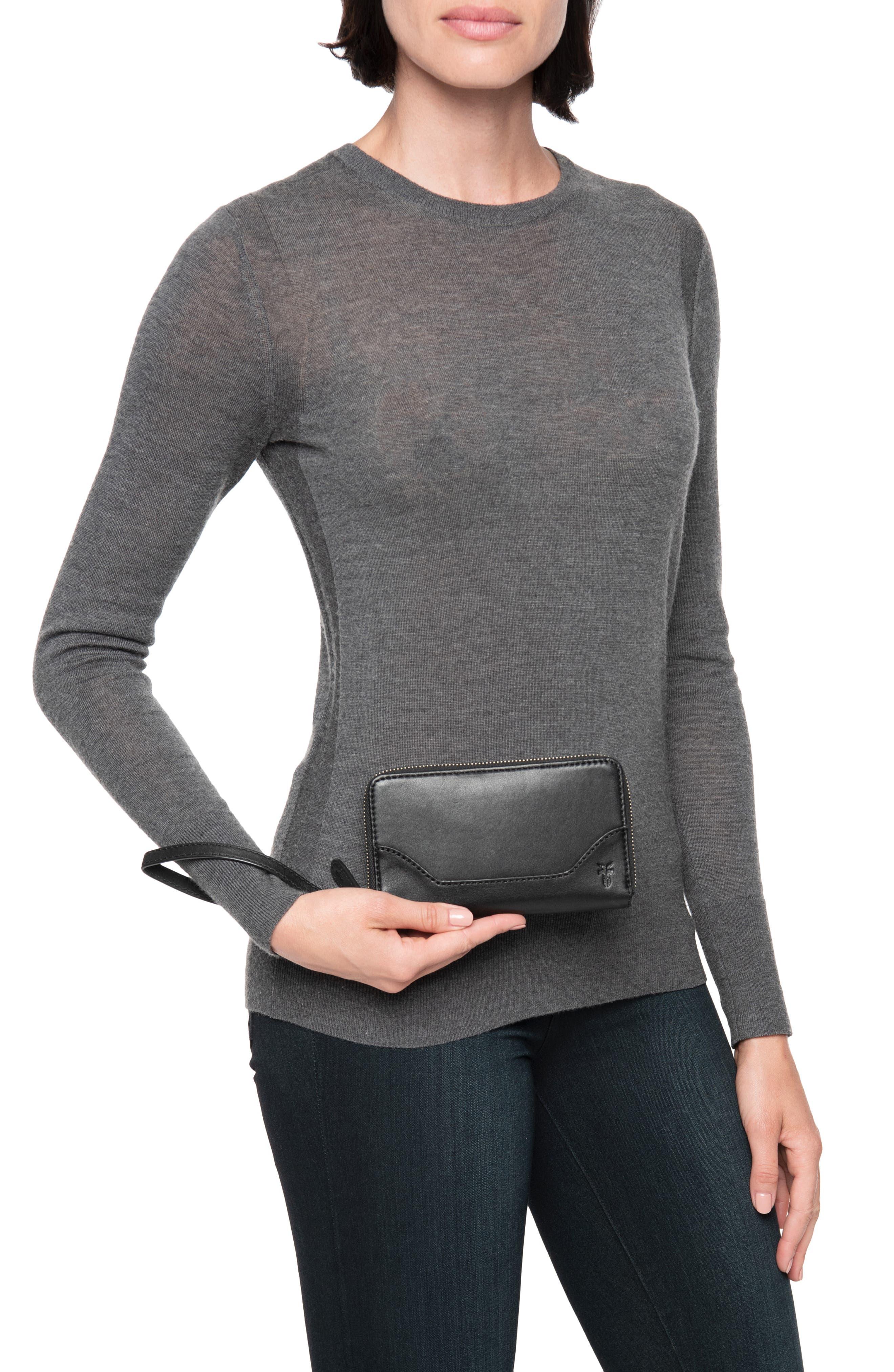 Melissa Leather Phone Wallet,                             Alternate thumbnail 3, color,                             BLACK