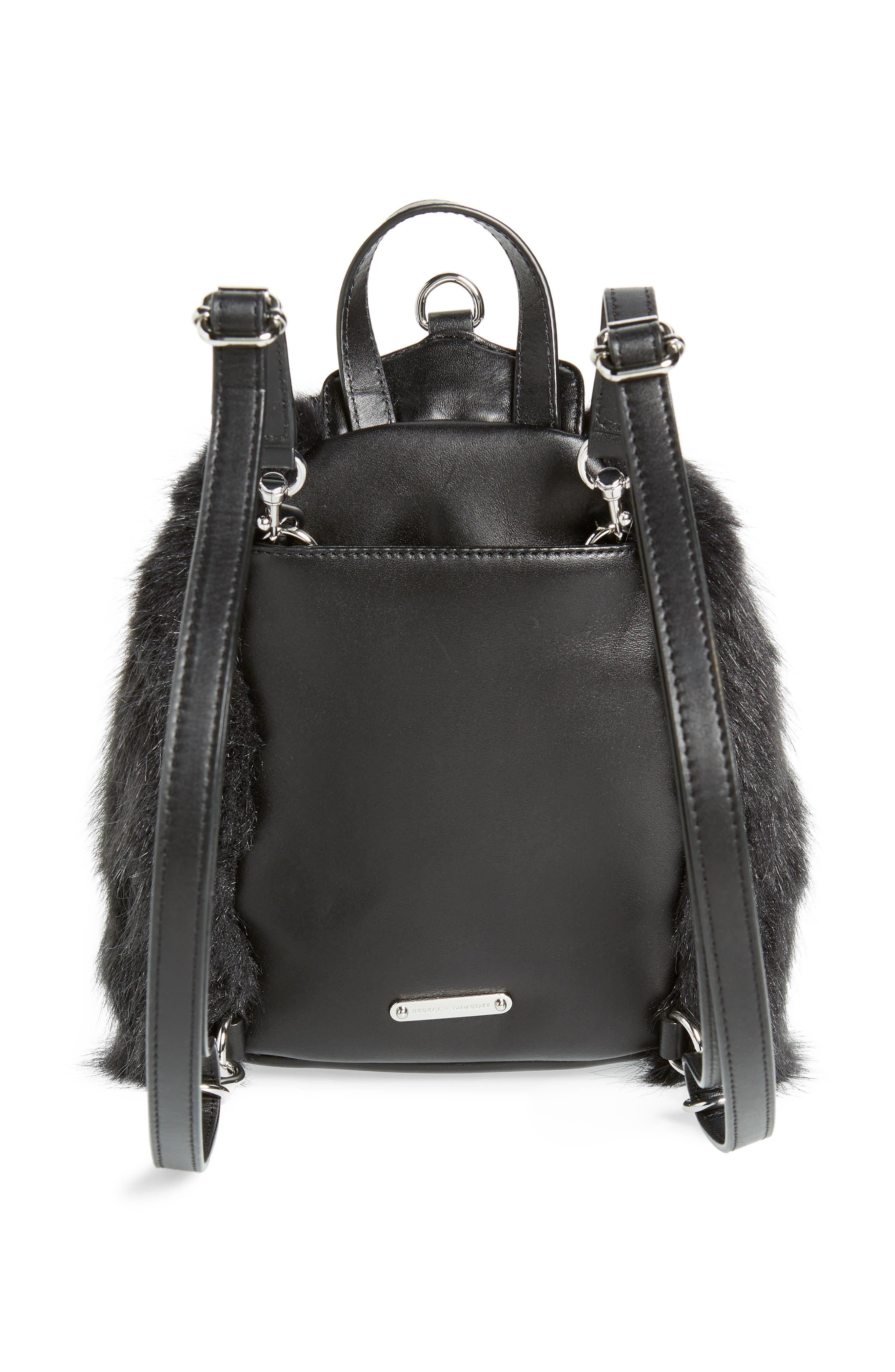 Mini Julian Faux Fur Backpack,                             Alternate thumbnail 4, color,                             BLACK