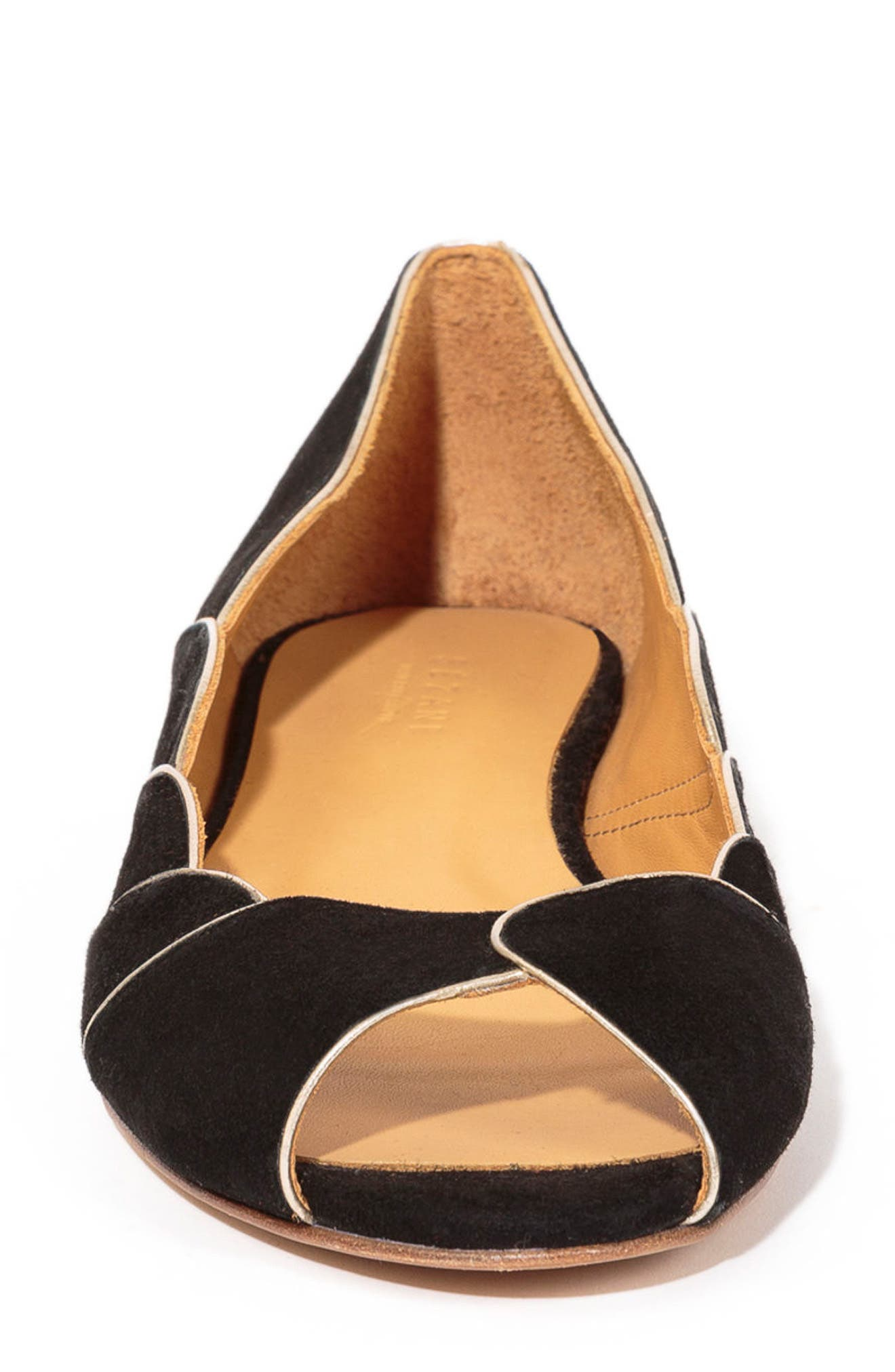 Suzanne Peep Toe Flat,                             Alternate thumbnail 3, color,                             BLACK/ GOLD SUEDE