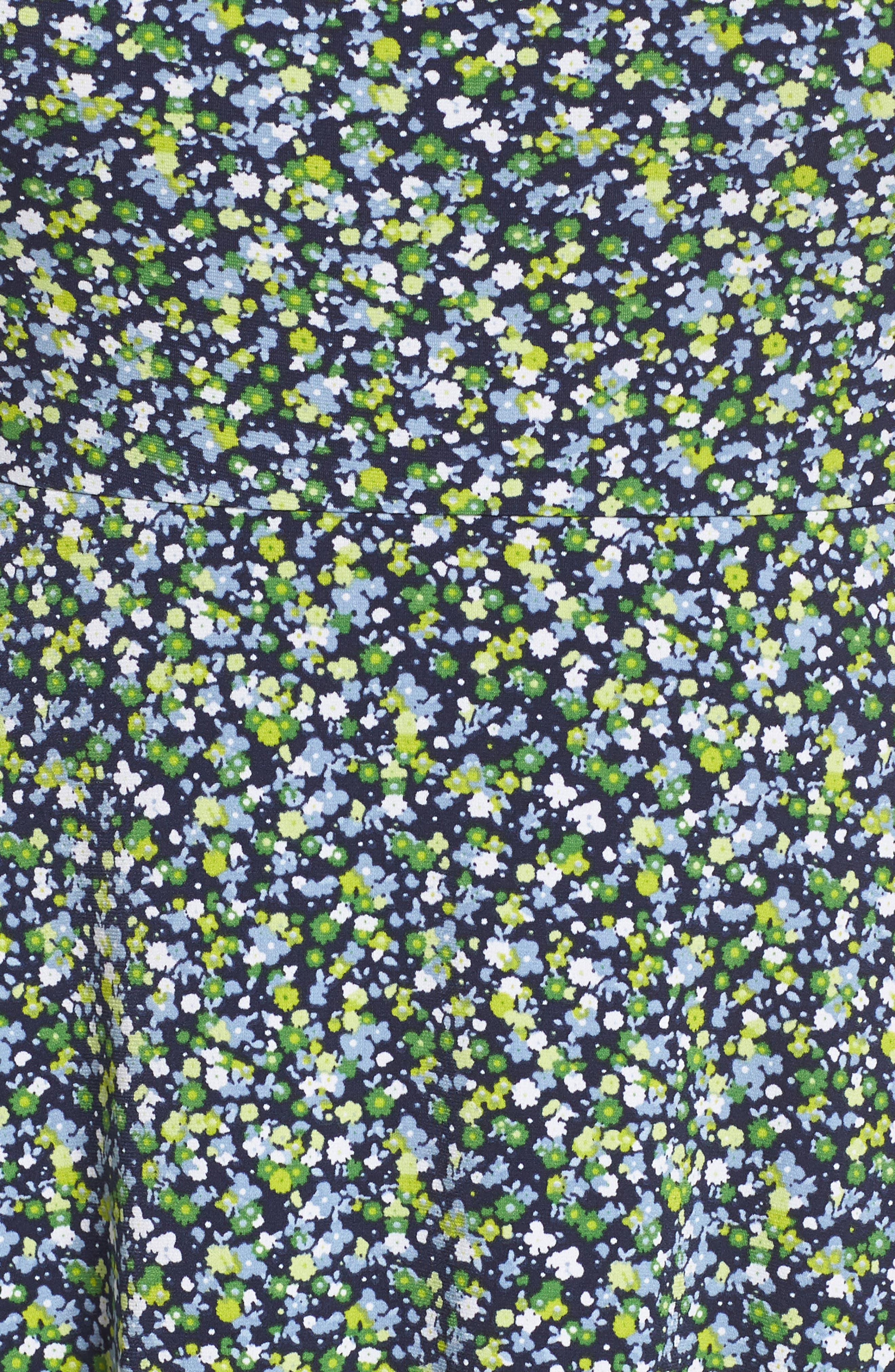 Floral Cutout Jersey Fit & Flare Dress,                             Alternate thumbnail 5, color,                             462