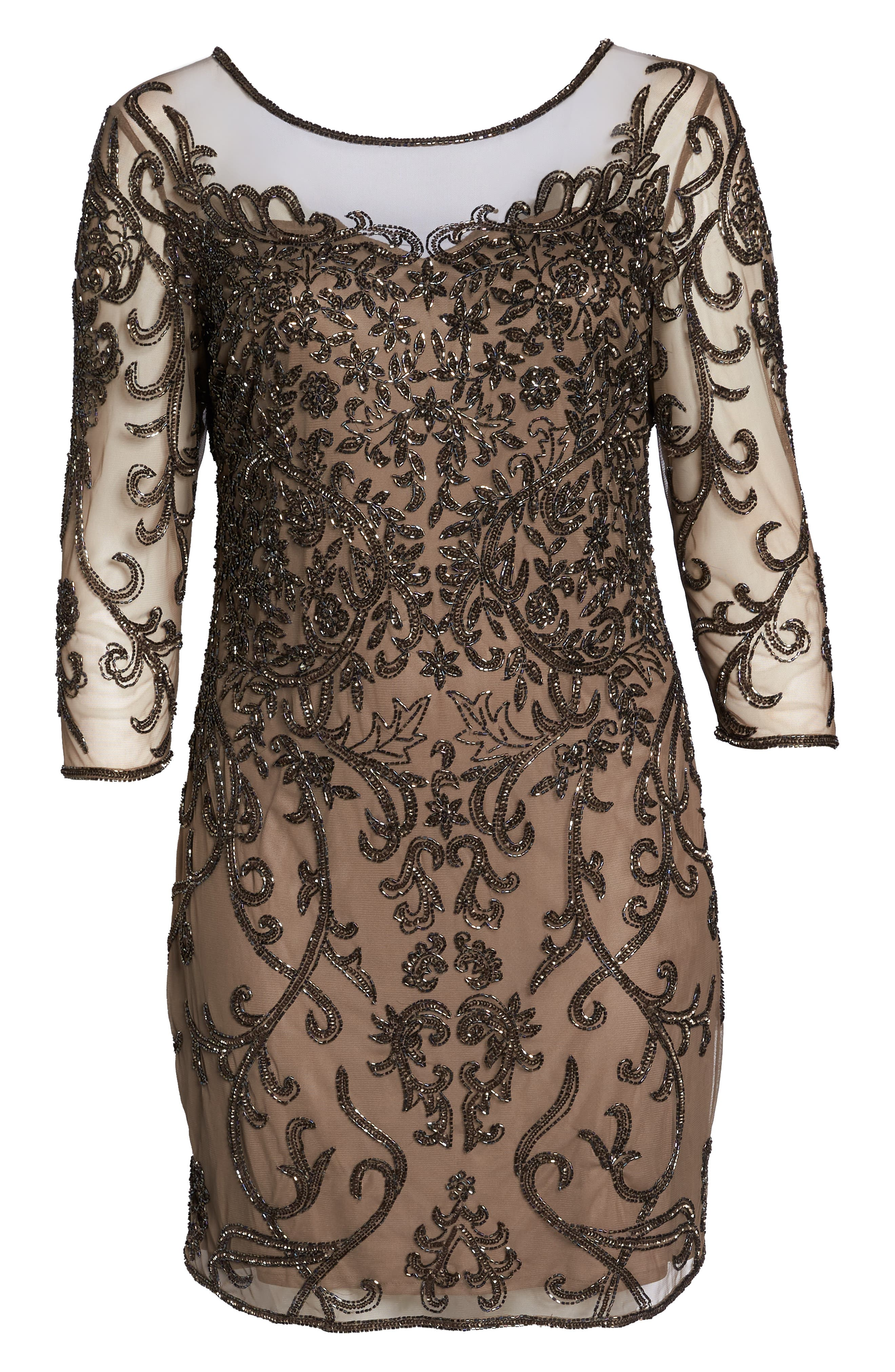Illusion Sleeve Beaded Sheath Dress,                             Alternate thumbnail 7, color,                             BROWN/ GOLD