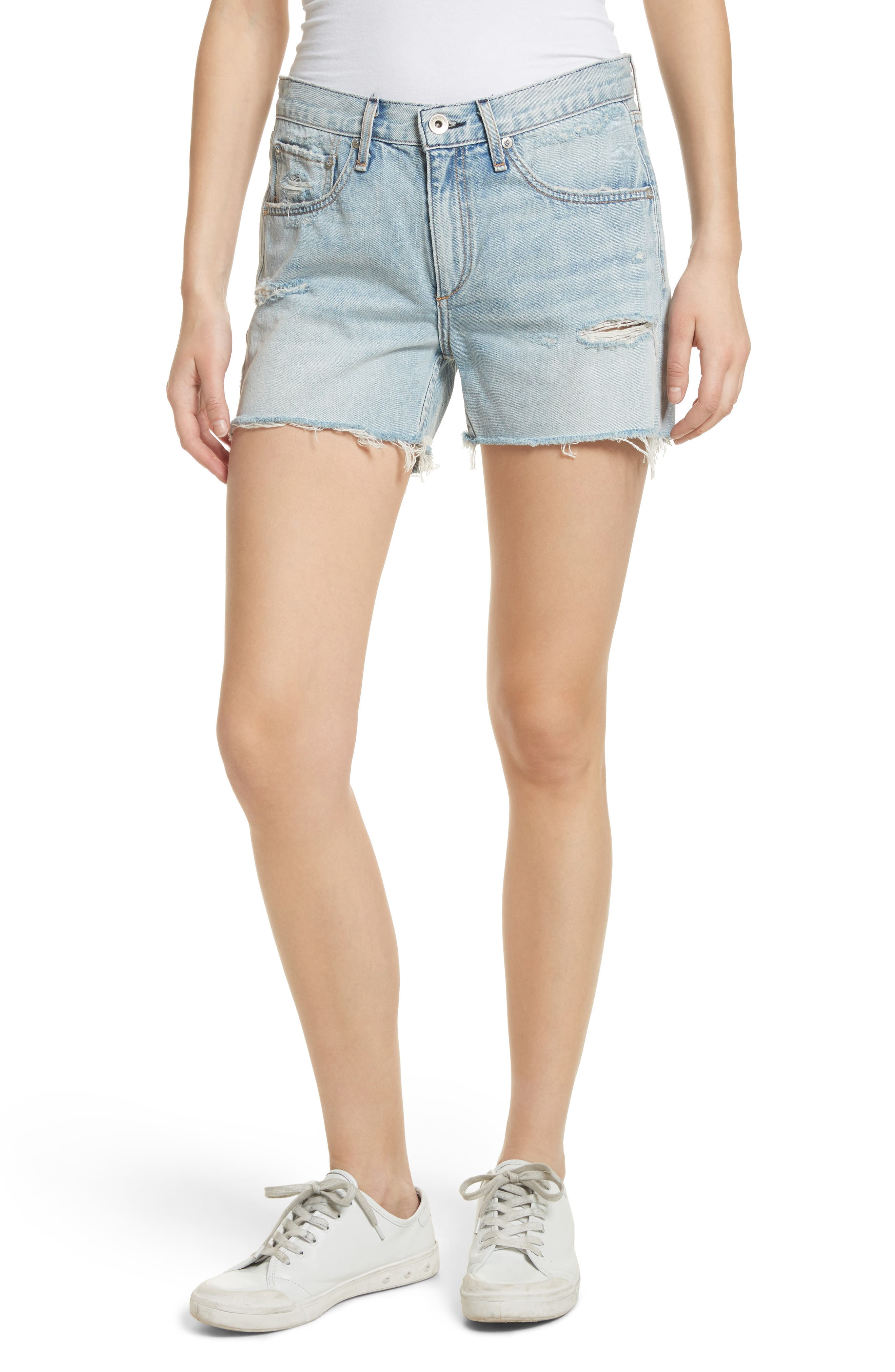 Boy Fray Denim Shorts,                             Main thumbnail 1, color,                             450