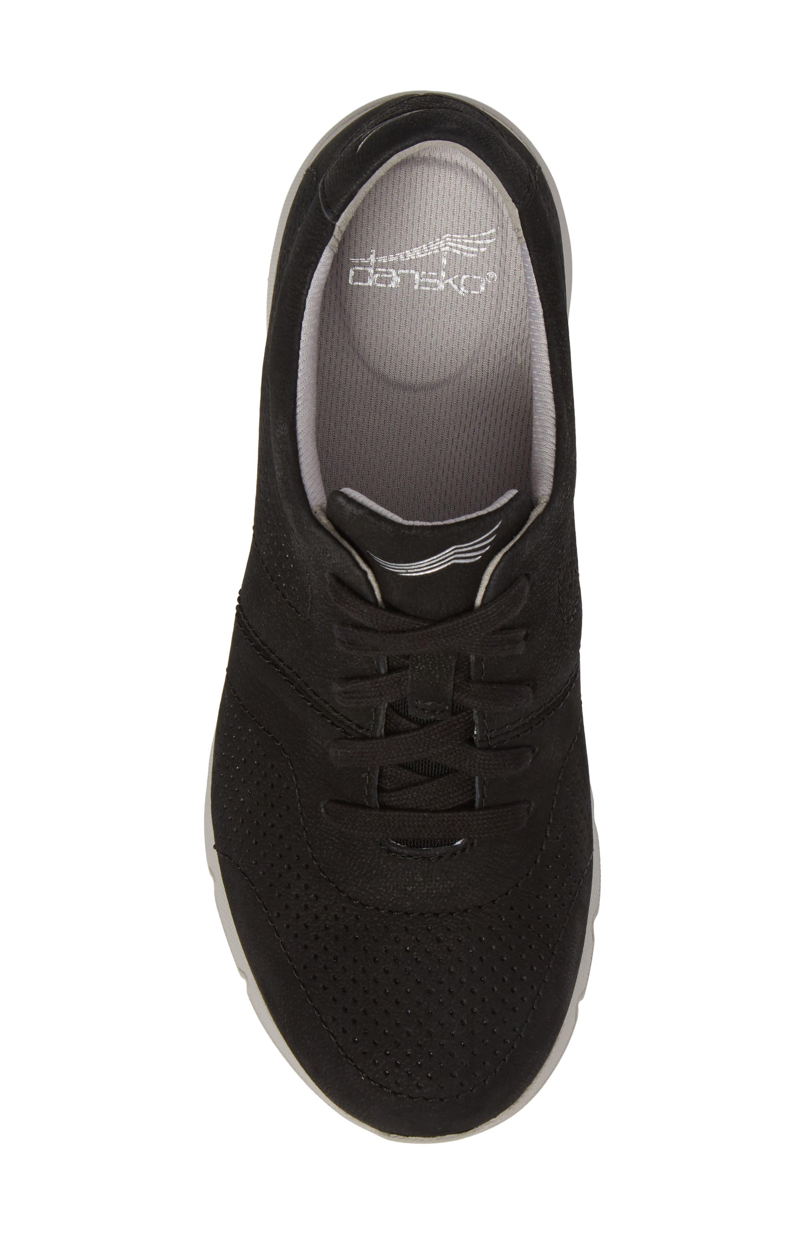 Alissa Sneaker,                             Alternate thumbnail 5, color,                             BLACK MILLED NUBUCK LEATHER
