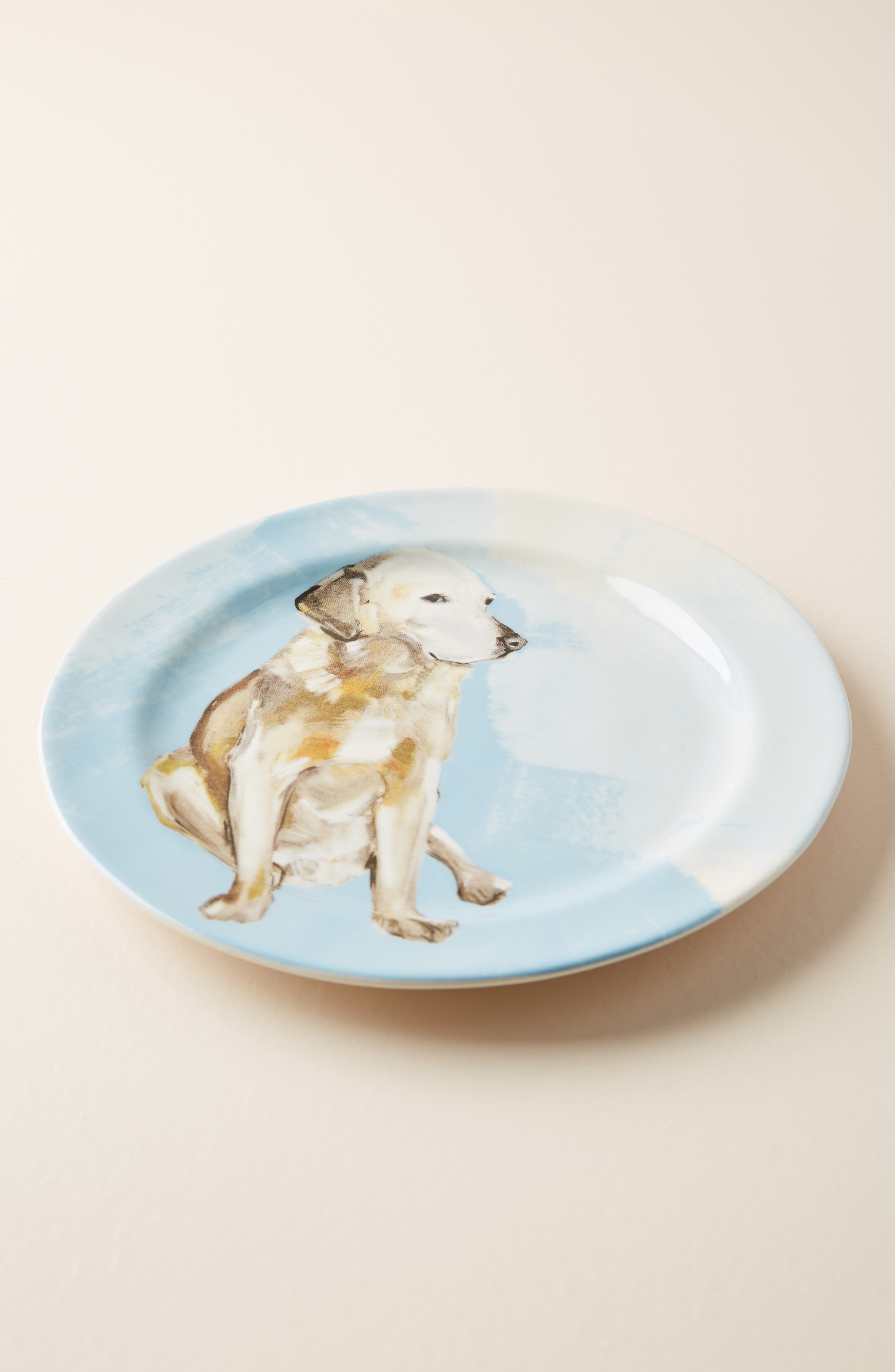 Dog-a-Day Stoneware Dessert Plate,                         Main,                         color, GOLDEN LAB