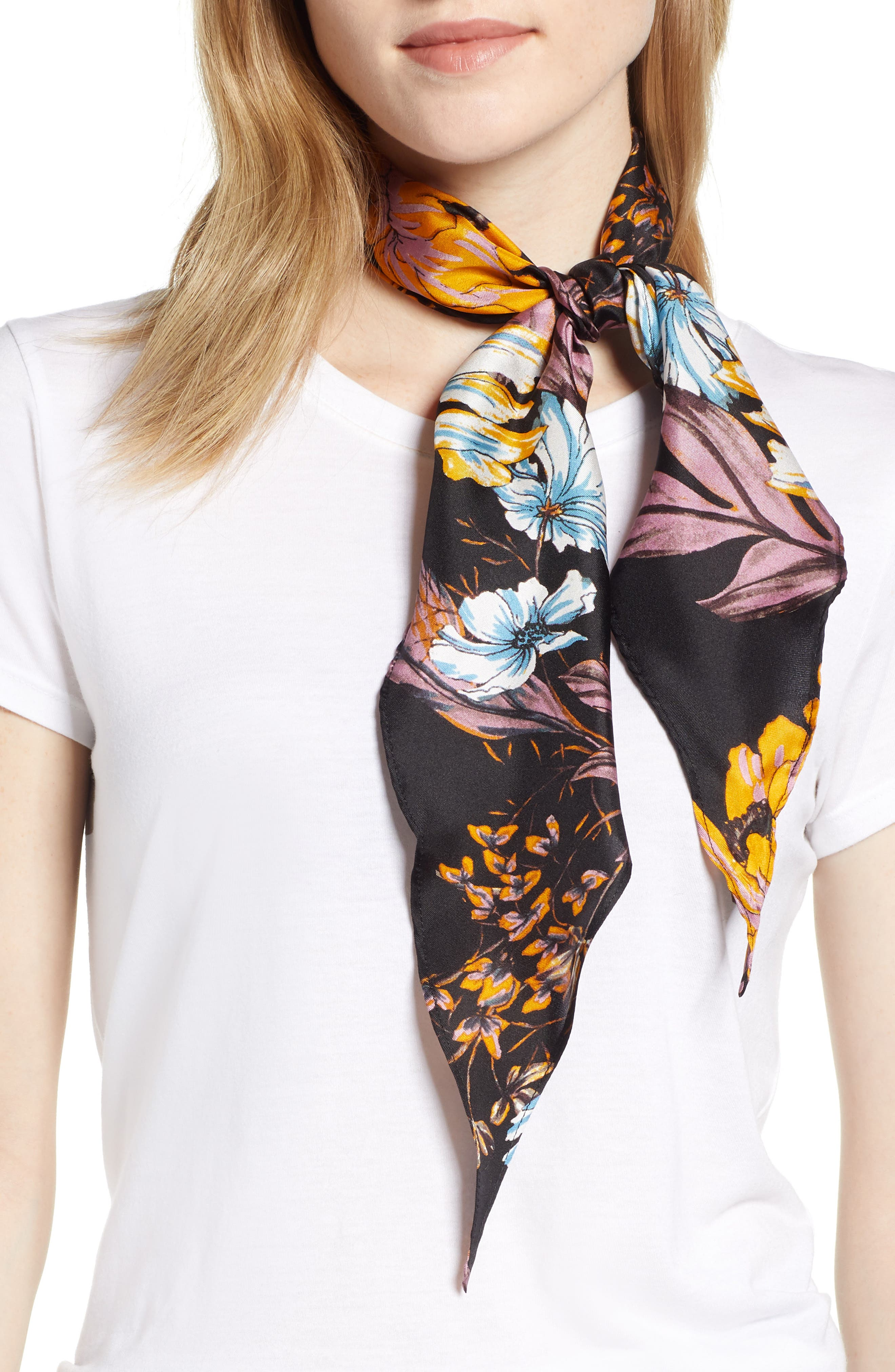 Floral Print Silk Kite Scarf,                             Main thumbnail 1, color,                             BLACK DARK FLORAL