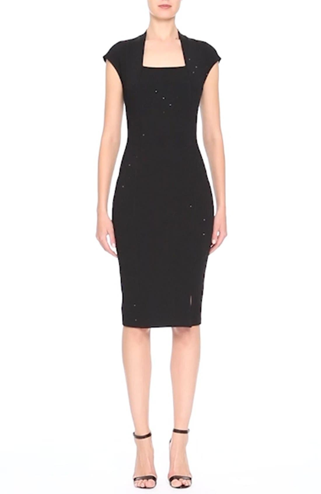 Embellished Luxe Sculpture Knit Dress,                             Alternate thumbnail 2, color,                             001