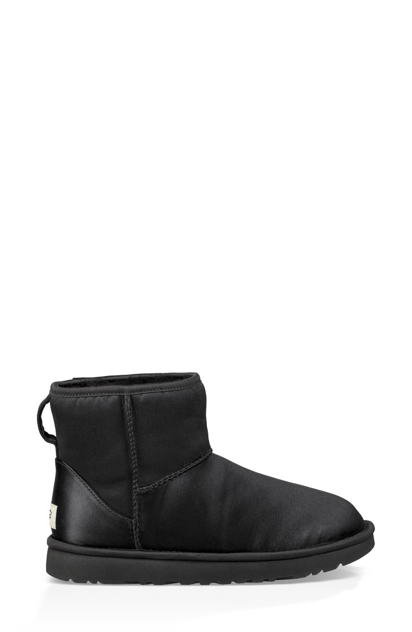 Classic Mini Genuine Shearling Lined Satin Boot,                             Alternate thumbnail 3, color,                             001