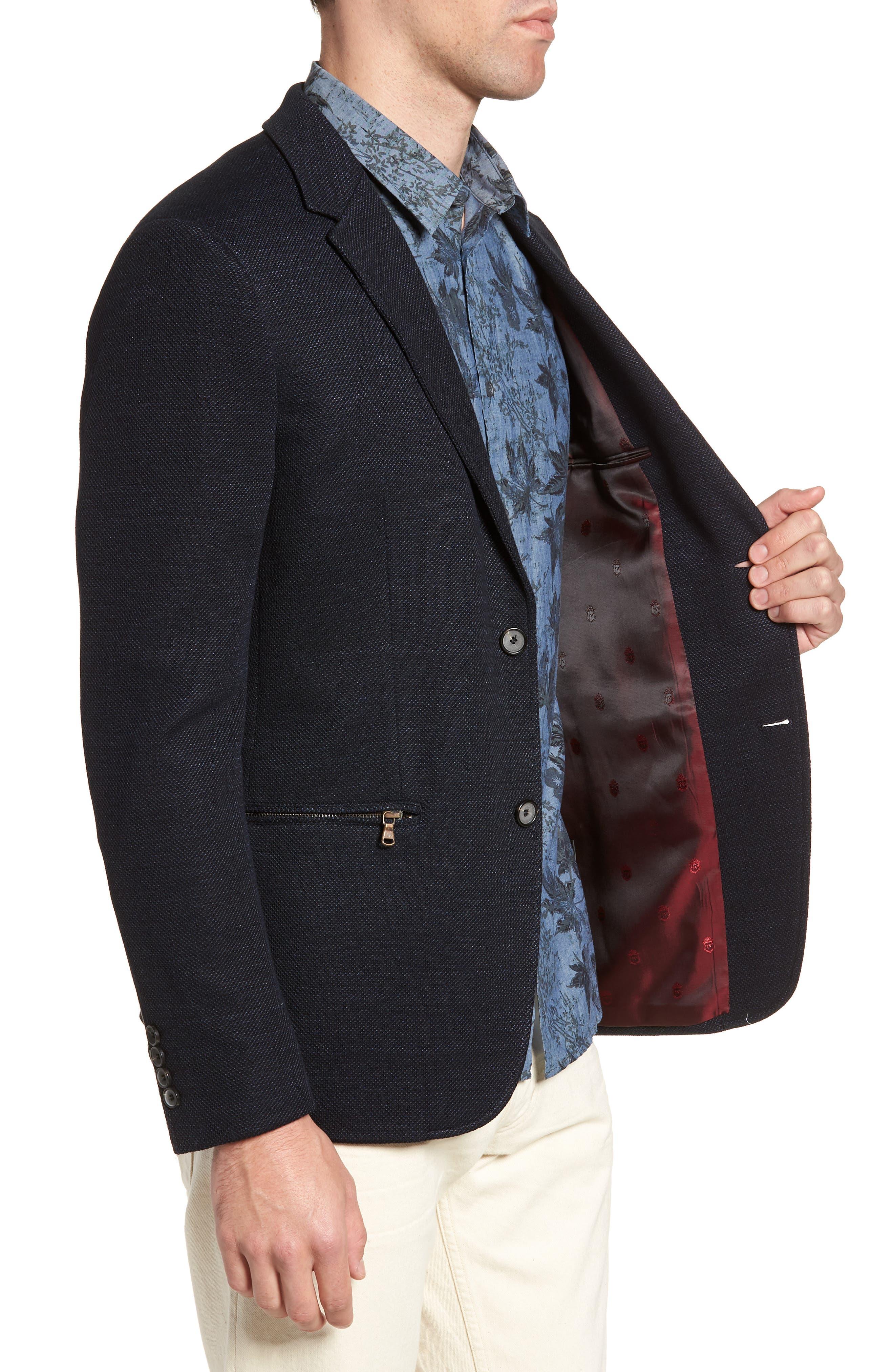 Regular Fit Cotton & Linen Blazer,                             Alternate thumbnail 3, color,                             405