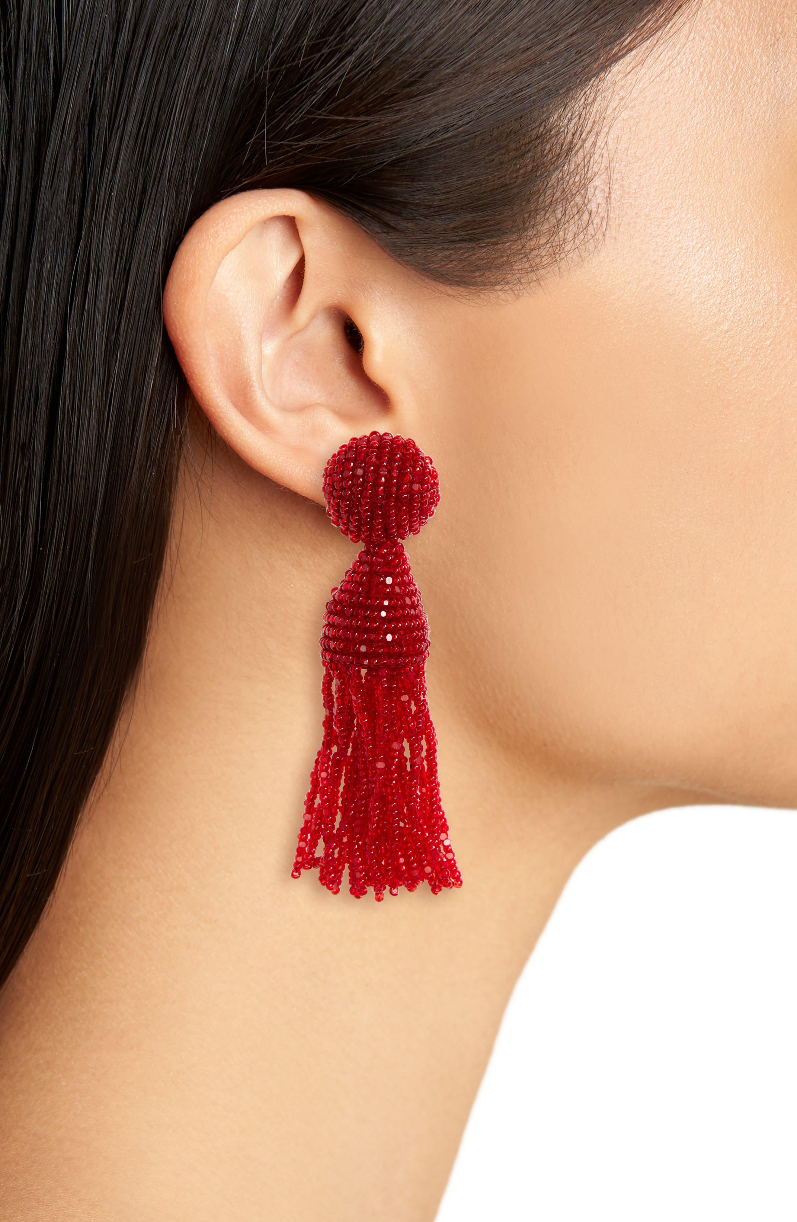 'Classic Short' Tassel Drop Clip Earrings,                             Alternate thumbnail 33, color,
