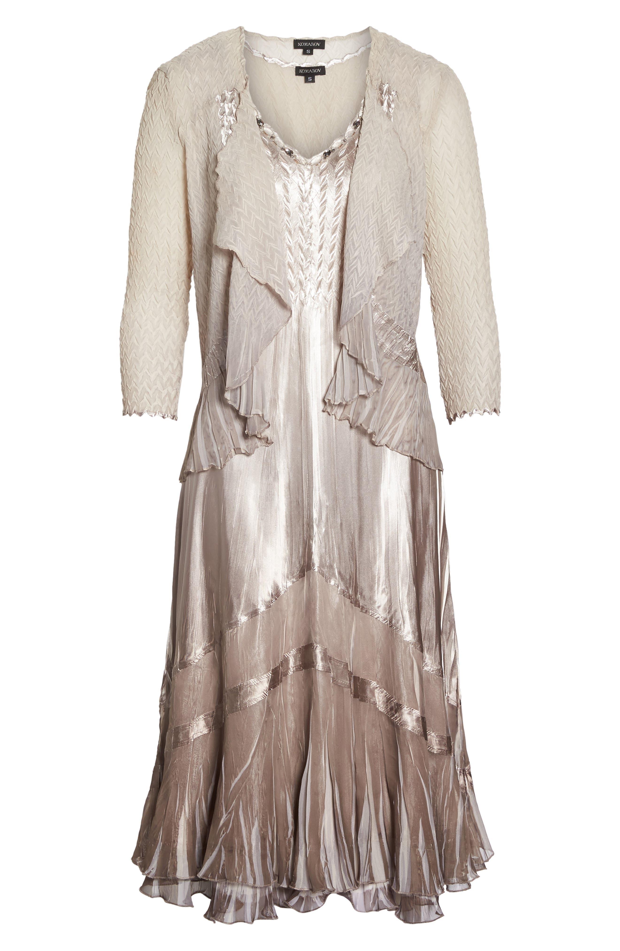 Beaded Charmeuse & Chiffon Midi Dress with Jacket,                             Alternate thumbnail 6, color,                             057