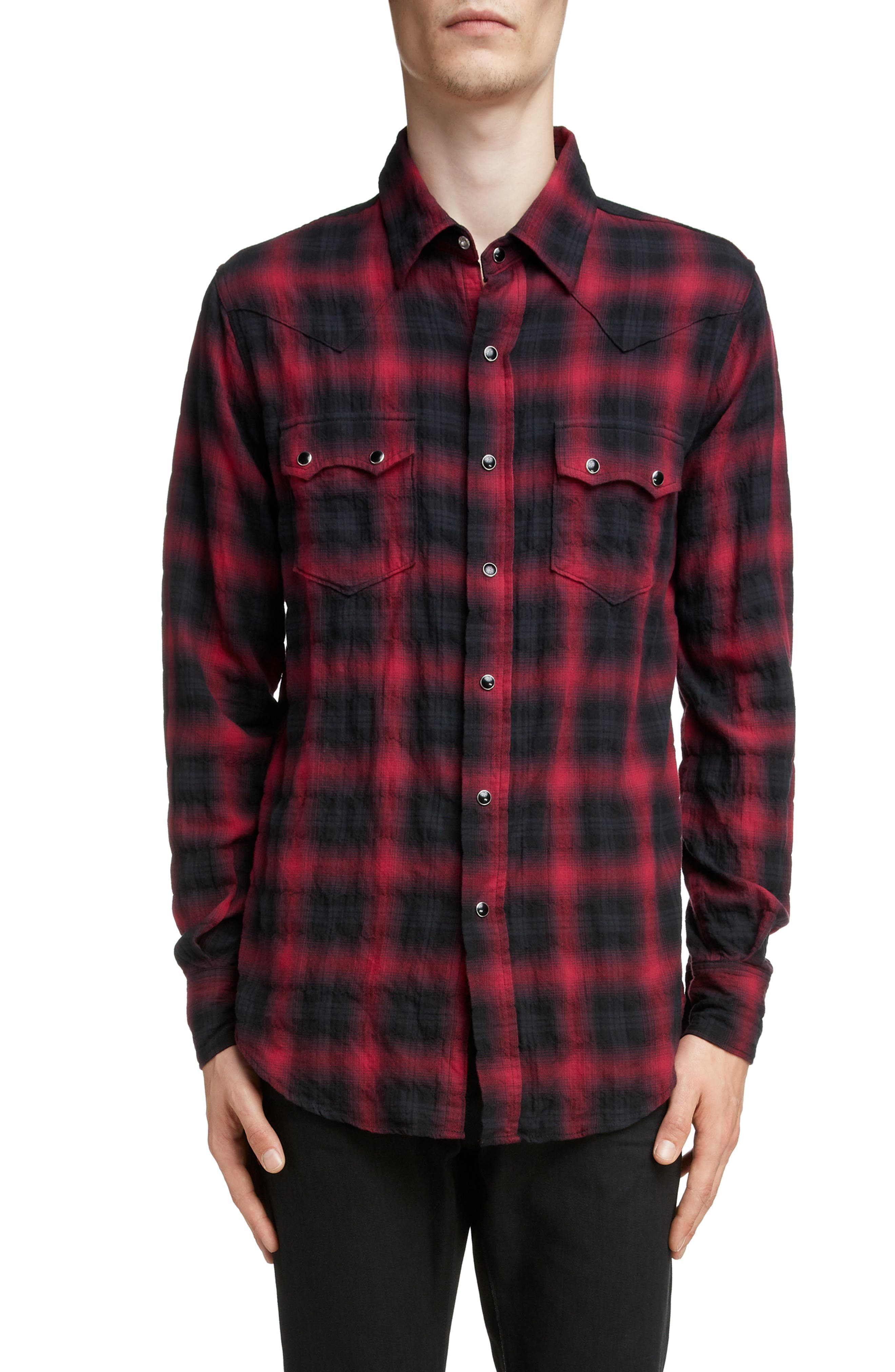 Classic Fit Check Western Shirt, Main, color, BLACK AND RED CHECK