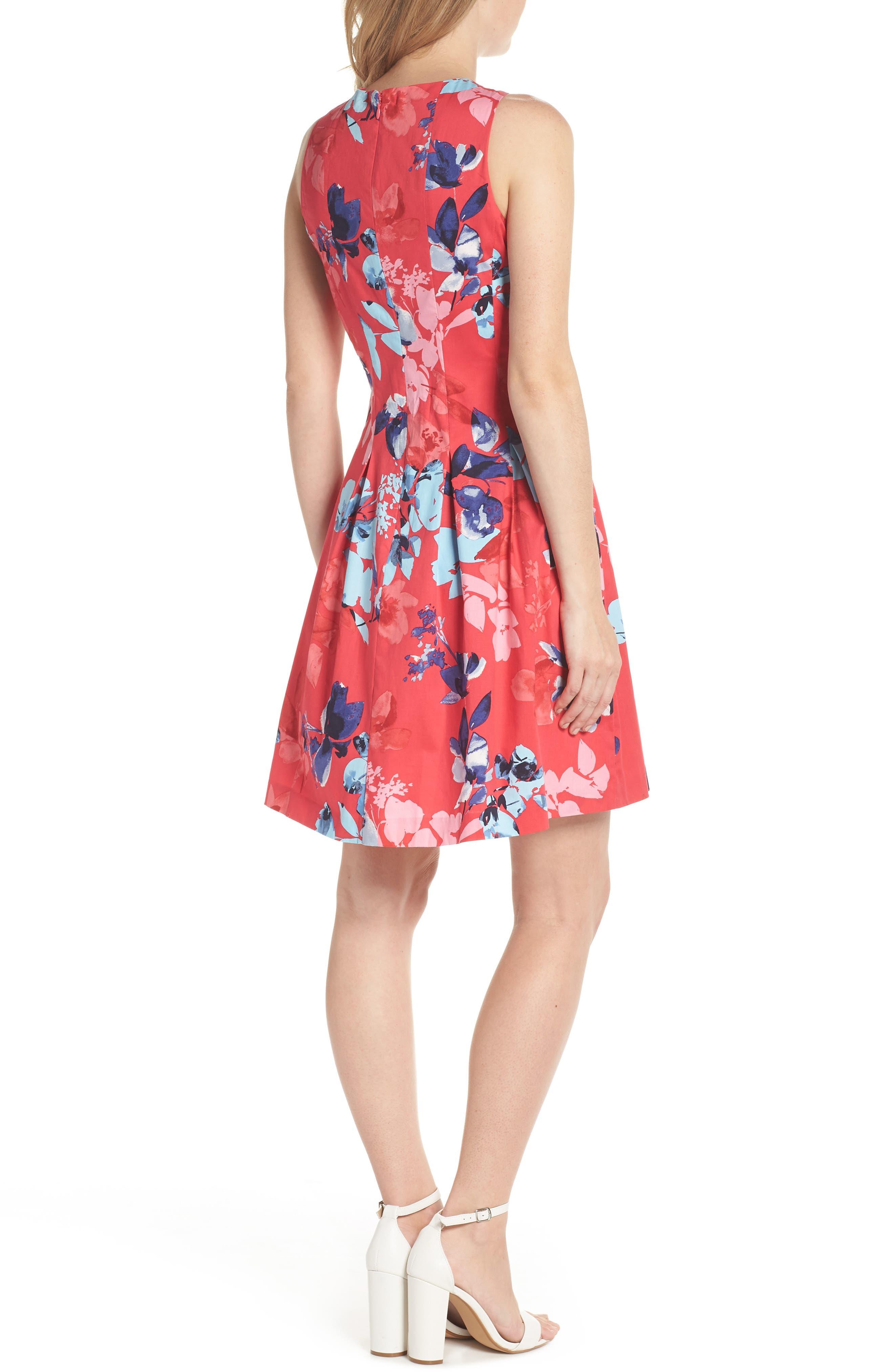 Floral Cotton Fit & Flare Dress,                             Alternate thumbnail 2, color,                             653