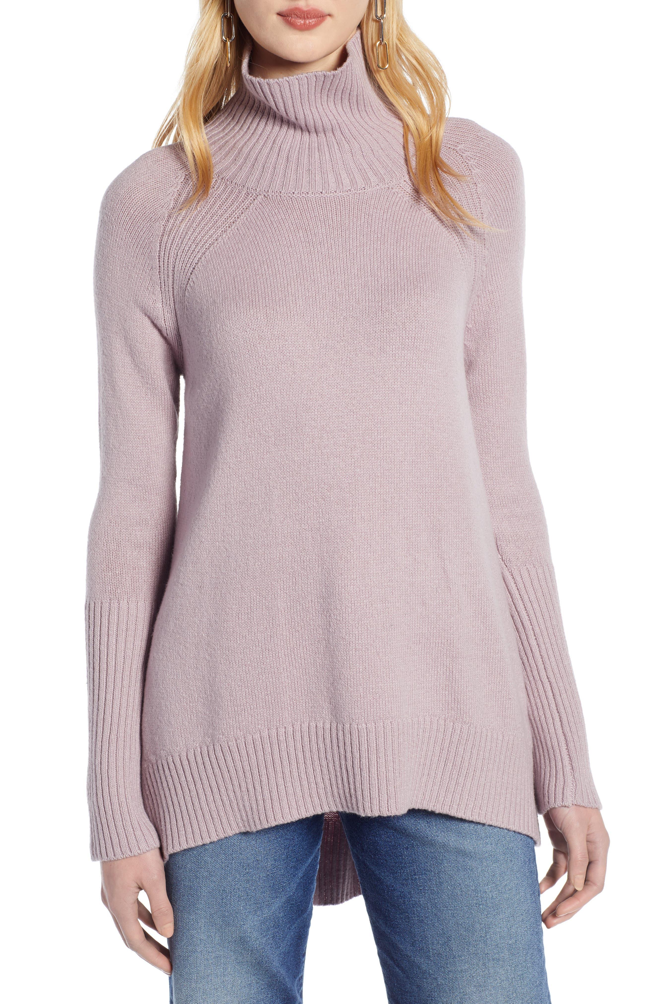 Plus Size Halogen High Low Oversize Wool Blend Sweater, Purple