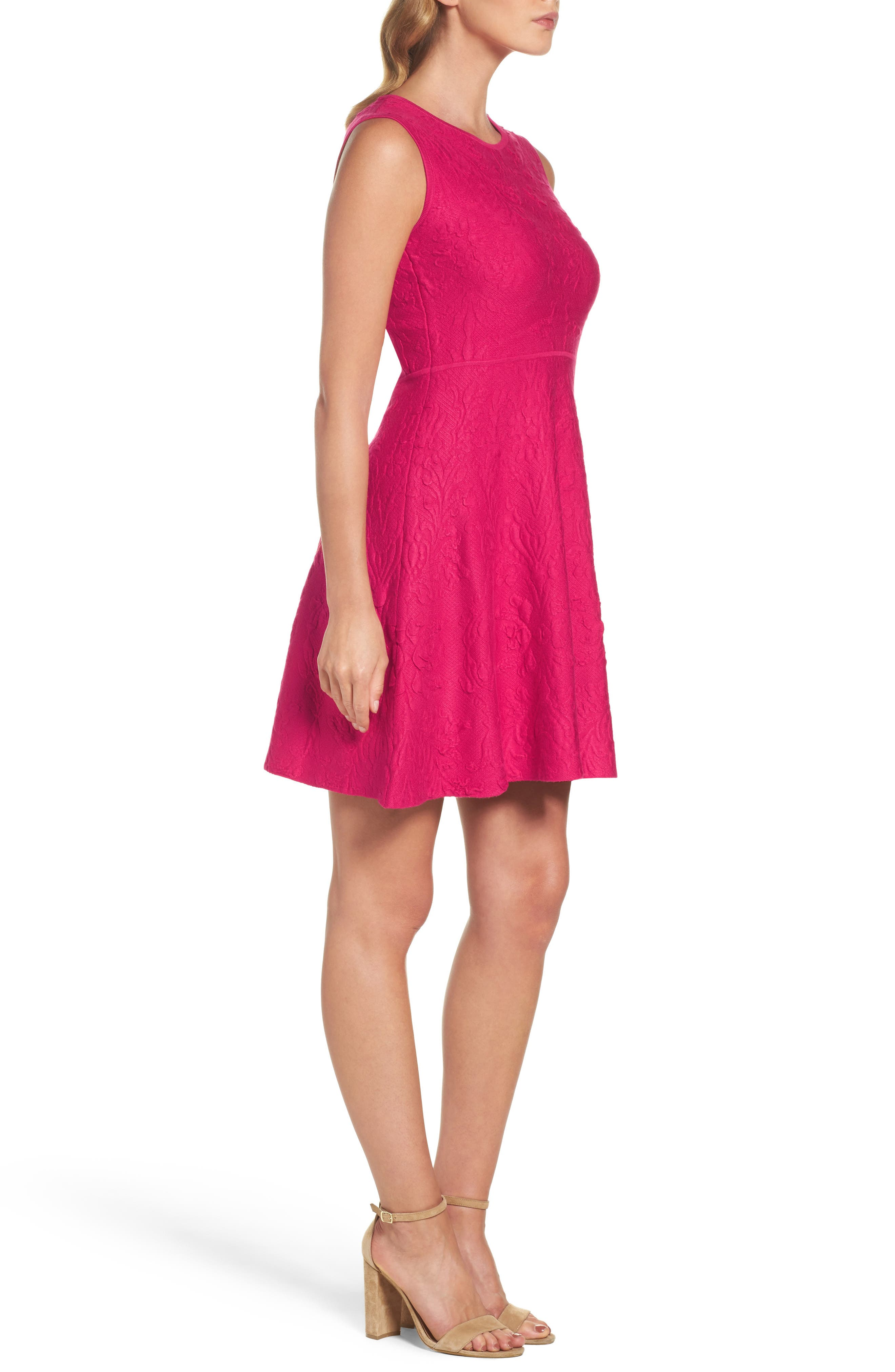Texture Knit Fit & Flare Dress,                             Alternate thumbnail 3, color,                             660